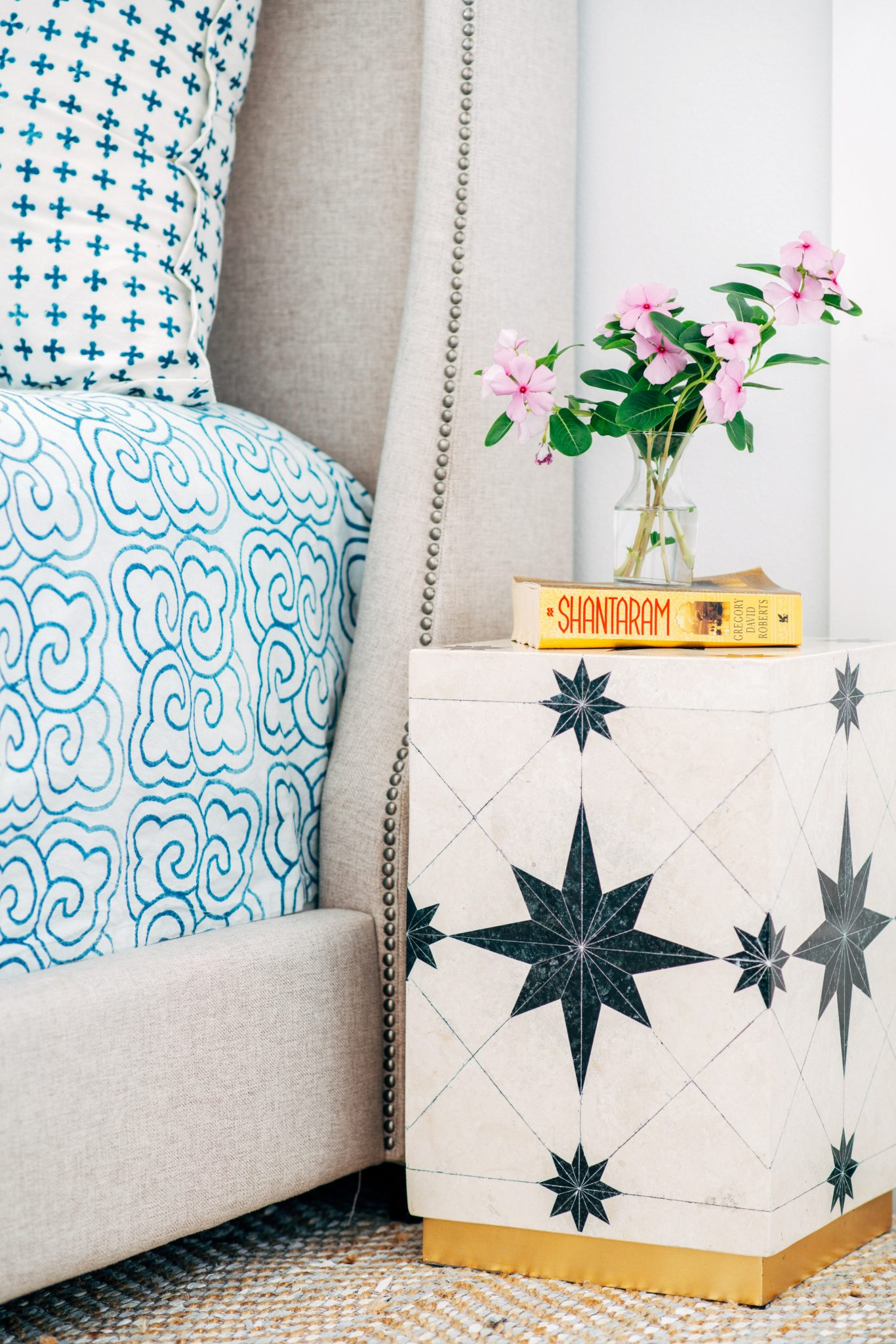 Beach House Bedside Detail + Colorful Printed Bedding in Anna Maria, Florida by Crowell + Company Interiors