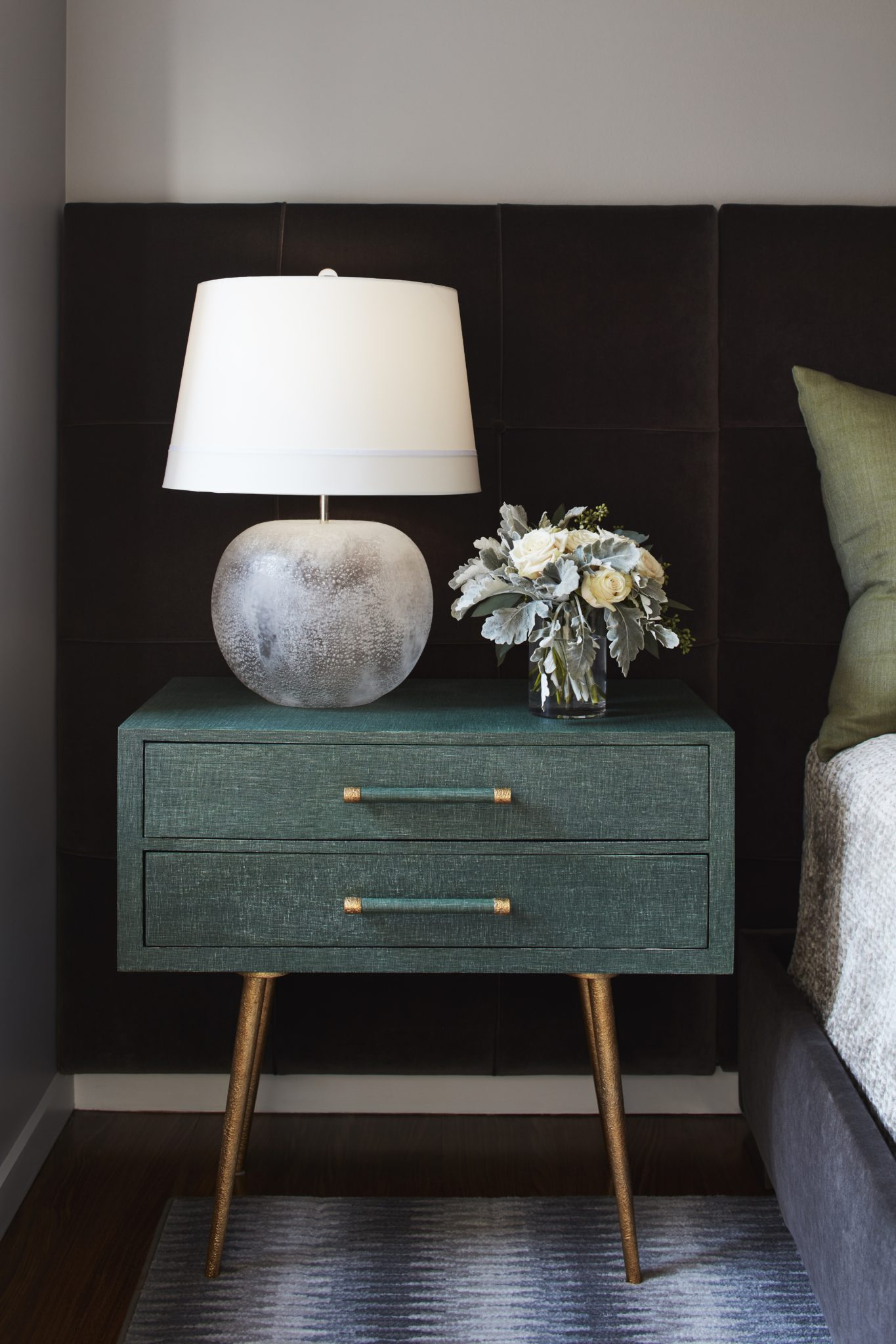 New York Vibes Master Bedroom mid-century modern nightstand vignette by House of Funk