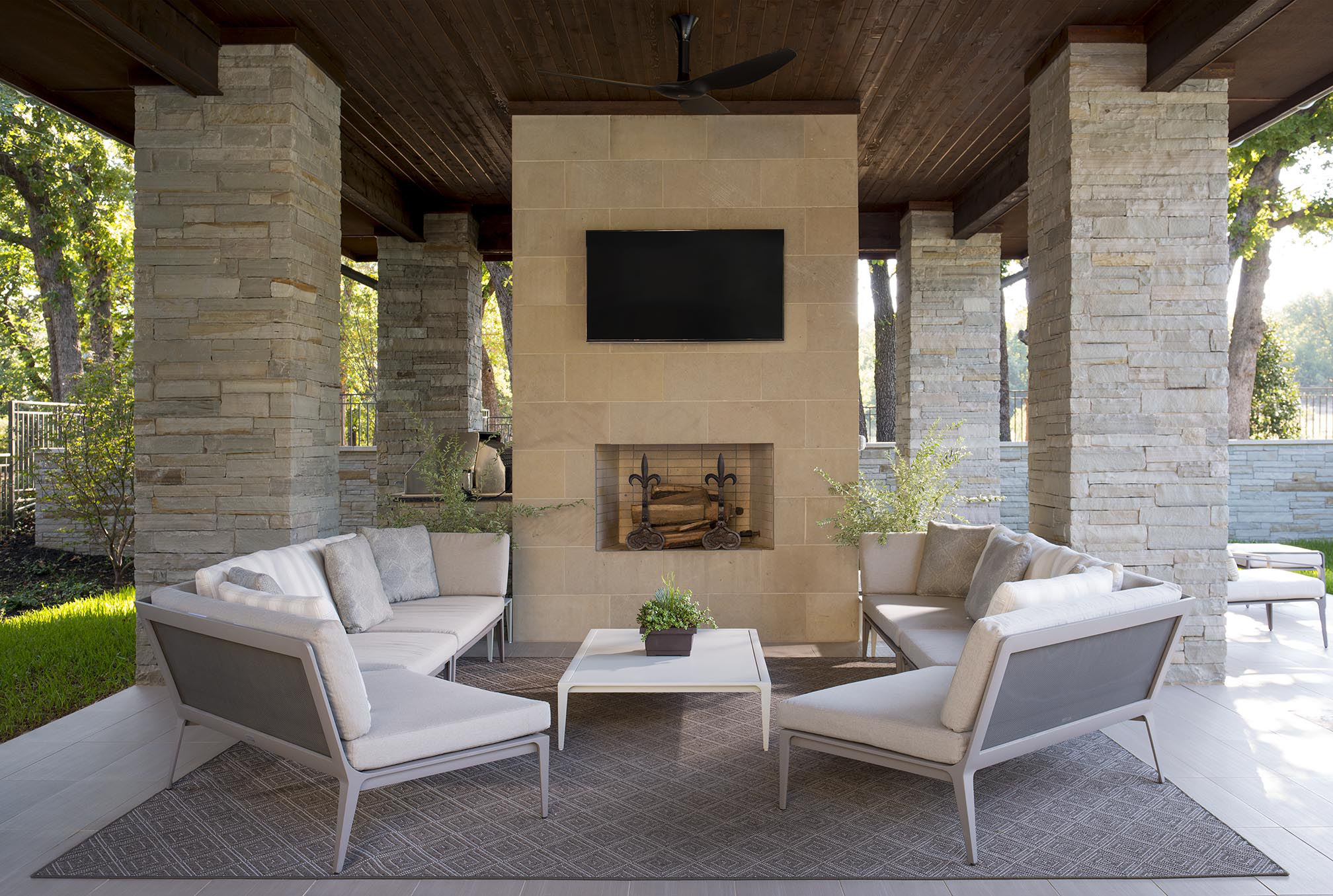 Outdoor Living Room by Denise McGaha Interiors