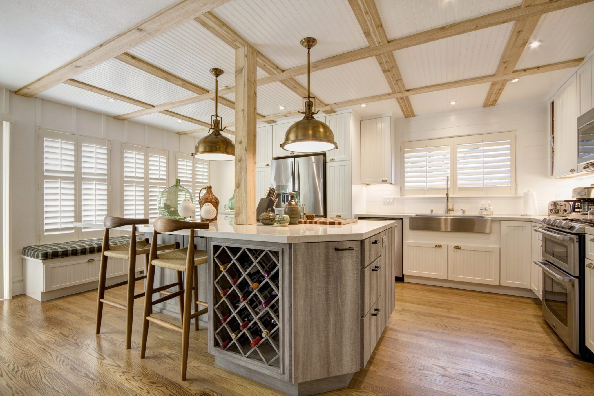 Wood accents add character to a kitchen by Scott Corridan Design
