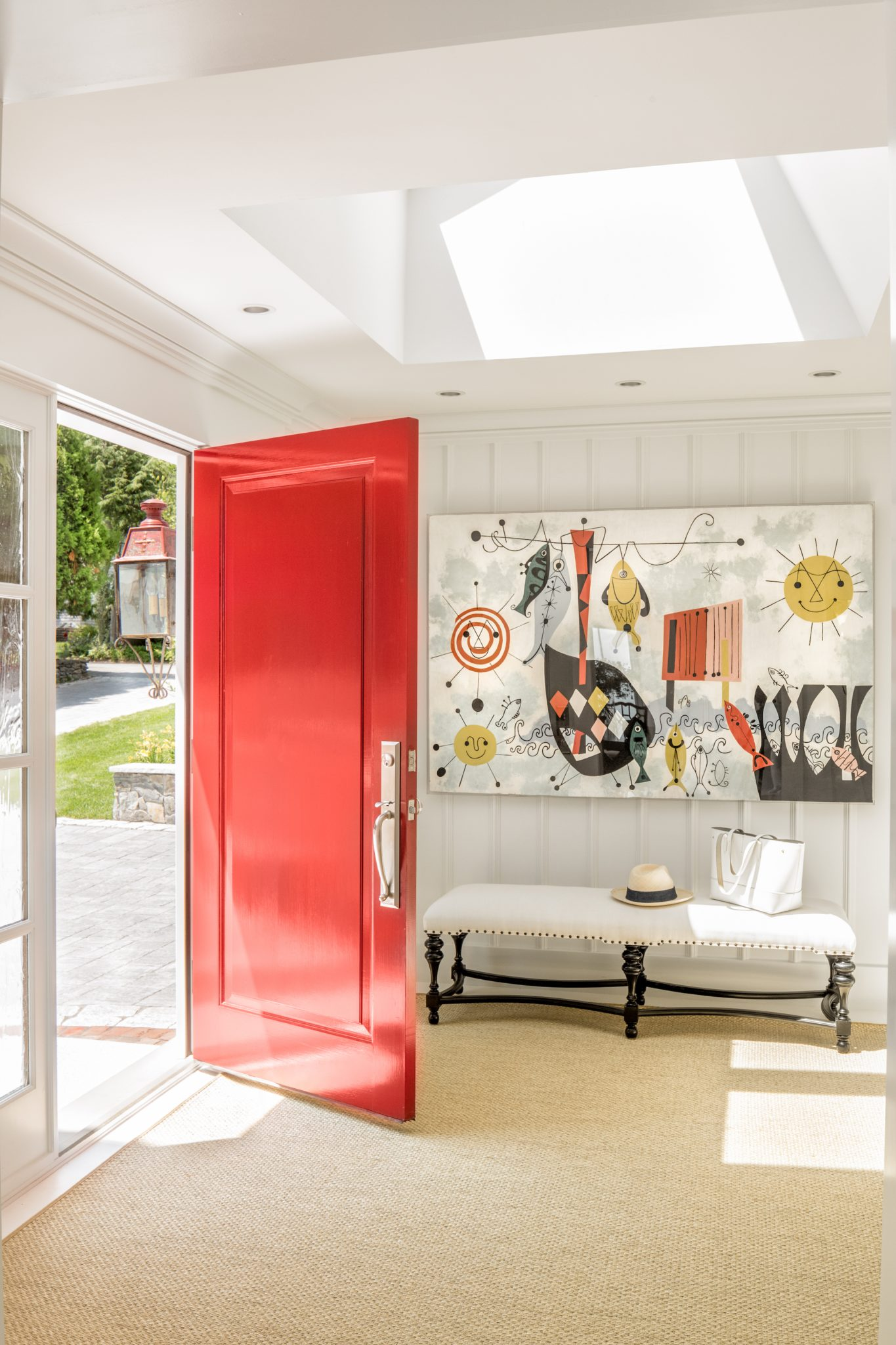 Front Entryway with Red Door at Waites Landing Waterfront, Falmouth by Banks Design Associates Ltd.