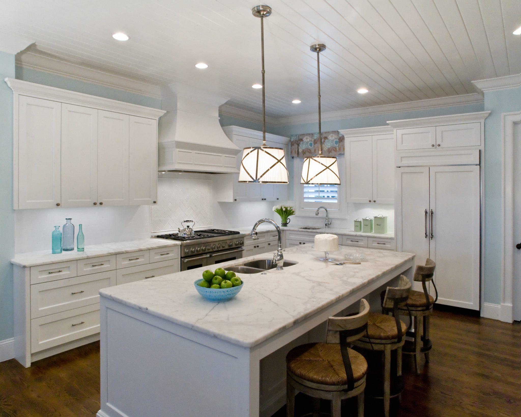 Coastal transitional cottage kitchen by Studio M Interior Design