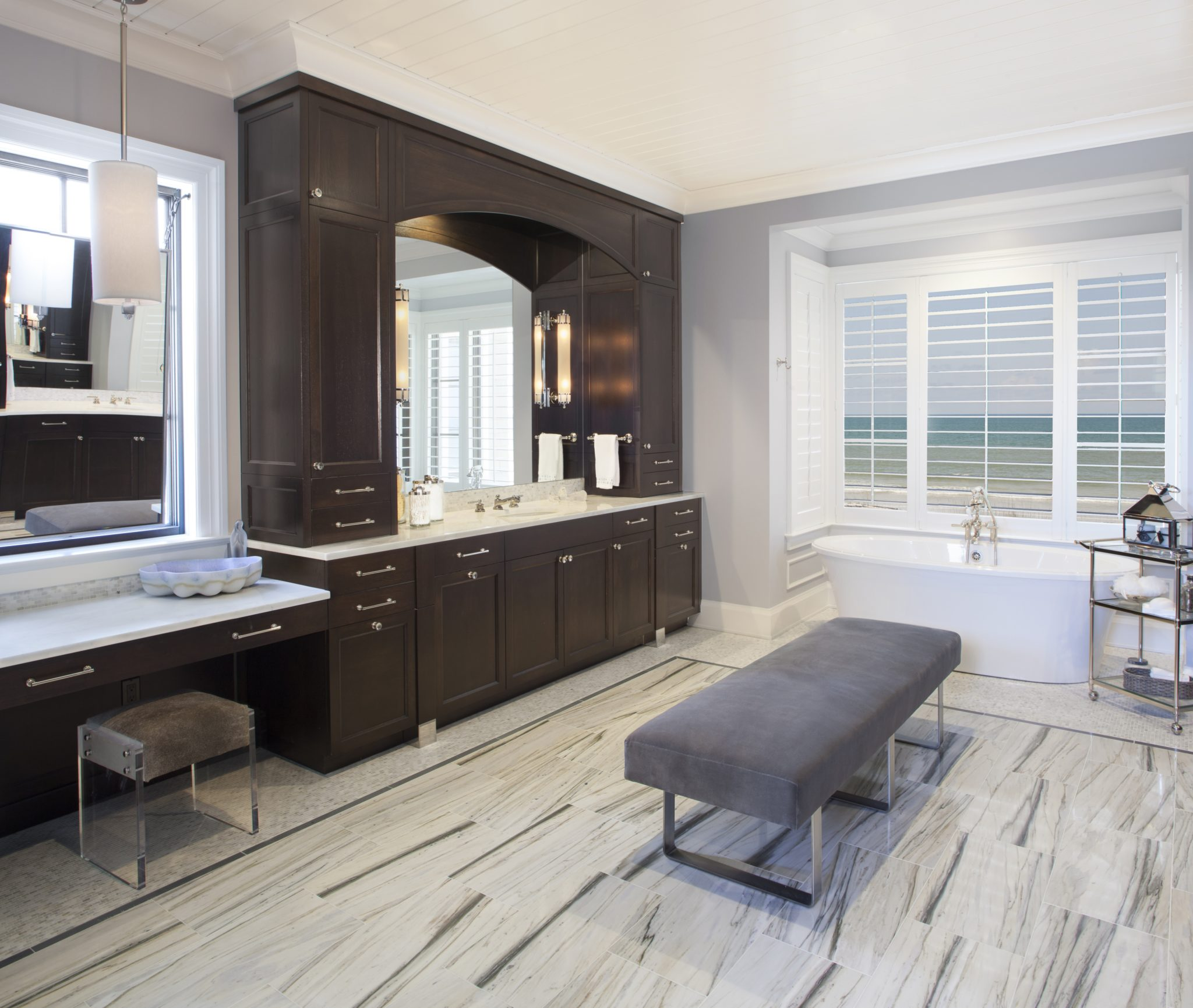 Transitional coastal master bathroom by Amanda Webster Design, Inc.