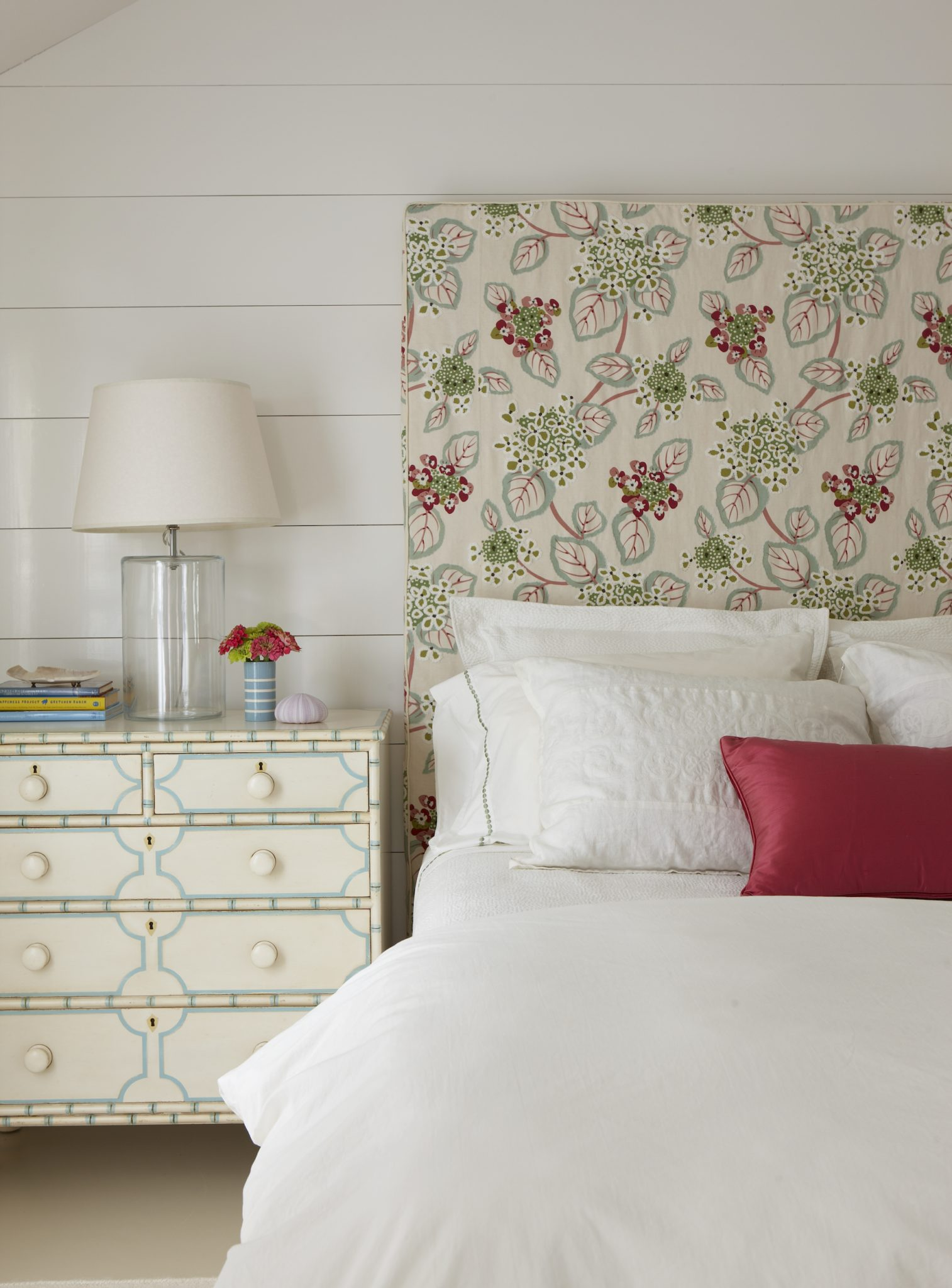 Bedroom with Custom Painted Nightstand at Chappaquiddick, Martha's Vineyard by Banks Design Associates Ltd.