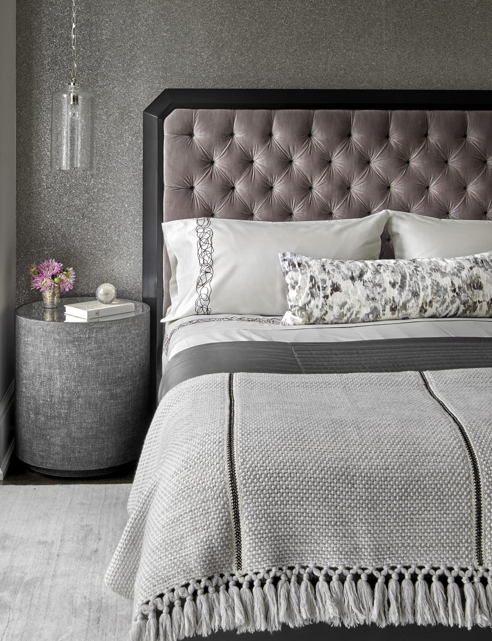 50 Shades of Grey | Velvet Tufted Headboard, Custom Bedding & Hanging Pendants by Laurie Demetrio Interiors