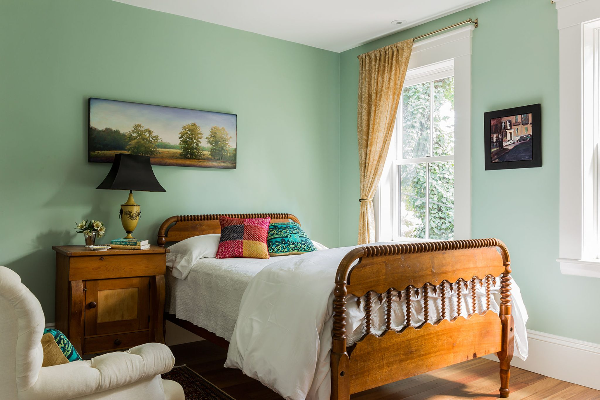 Charlestown, MA, lovely guest bedrom with spindle bed. By Kathy Marshall Design