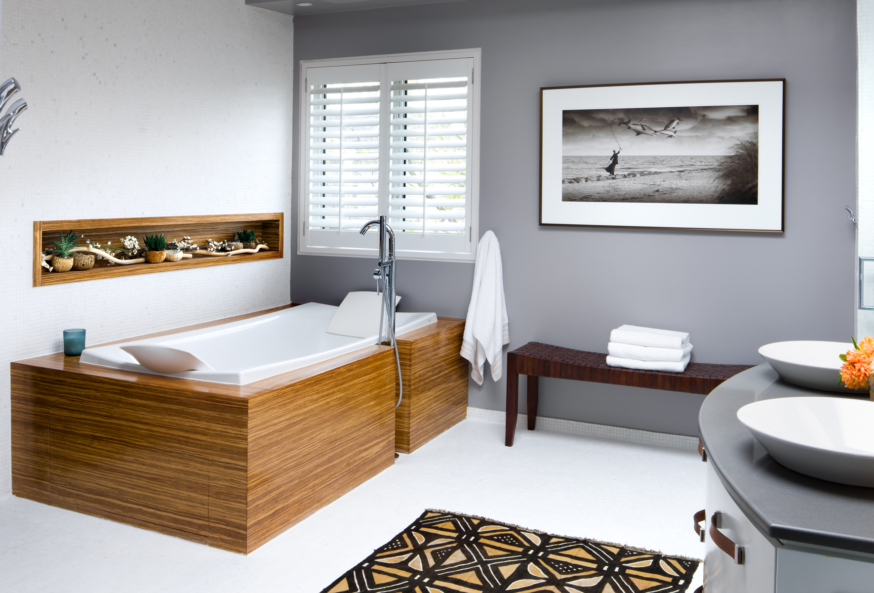 Master Bathroom with wood accents. by Estee Design