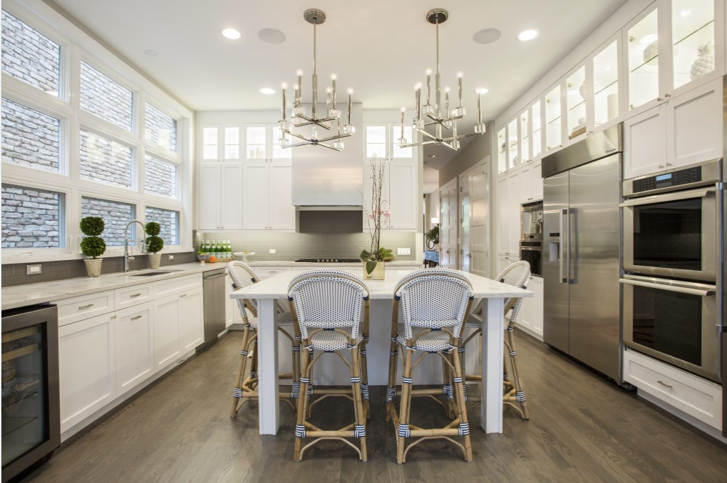 White modern kitchen with bistro accents by Olive Juice