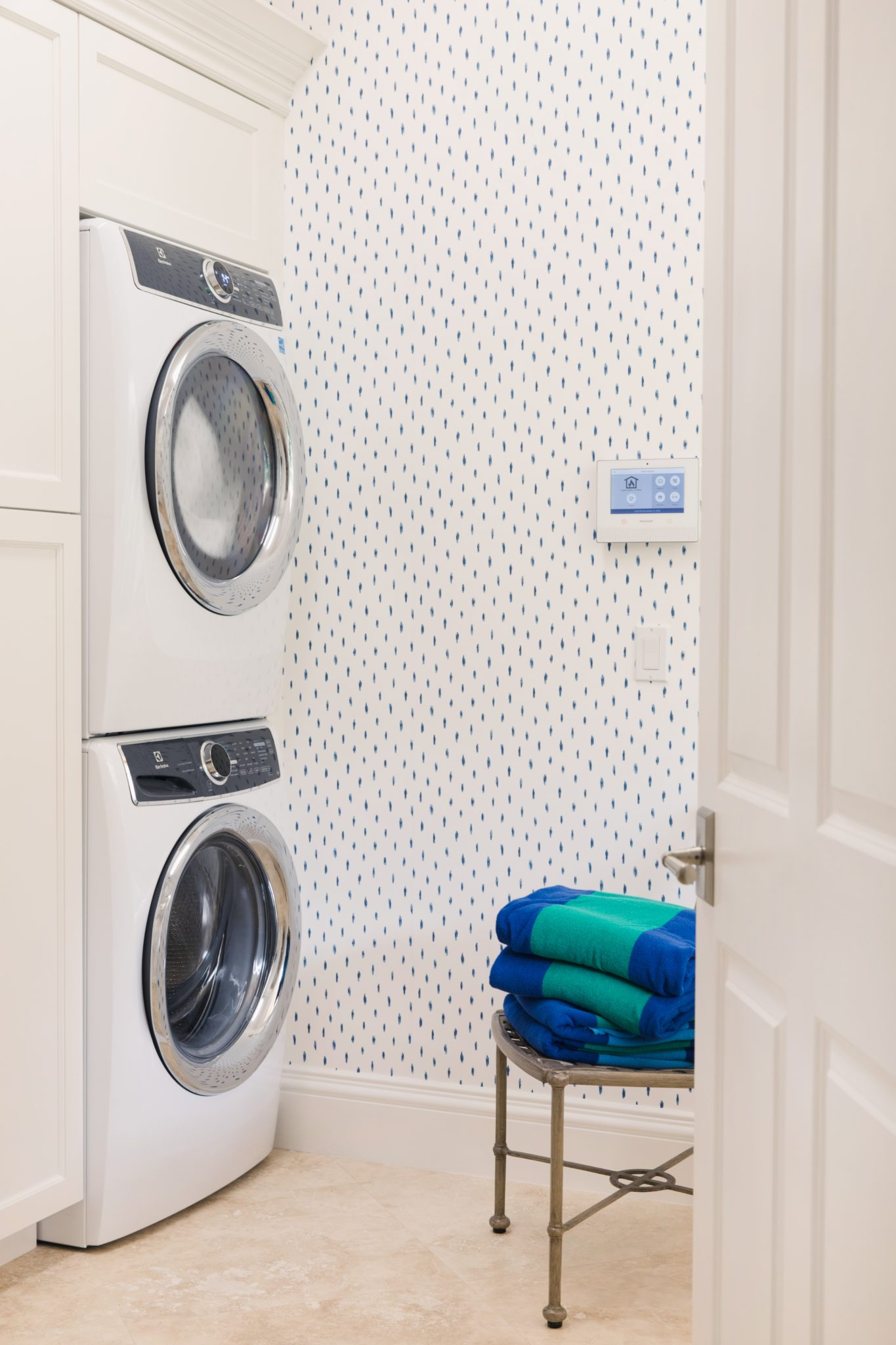 West Palm Beach Blue and White Laundry Room by LSM Interior Design