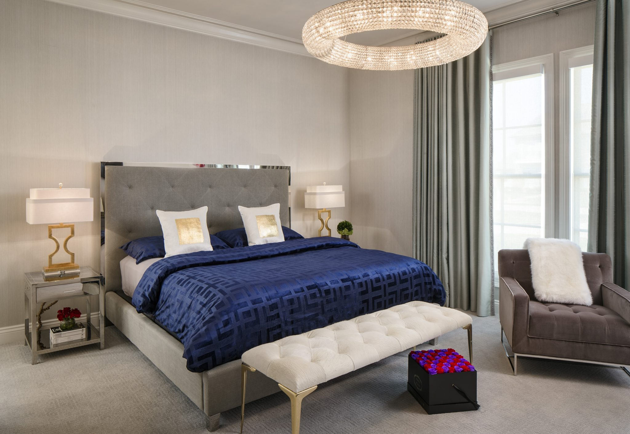 Transitional Master Bedroom by Posh Exclusive Interiors