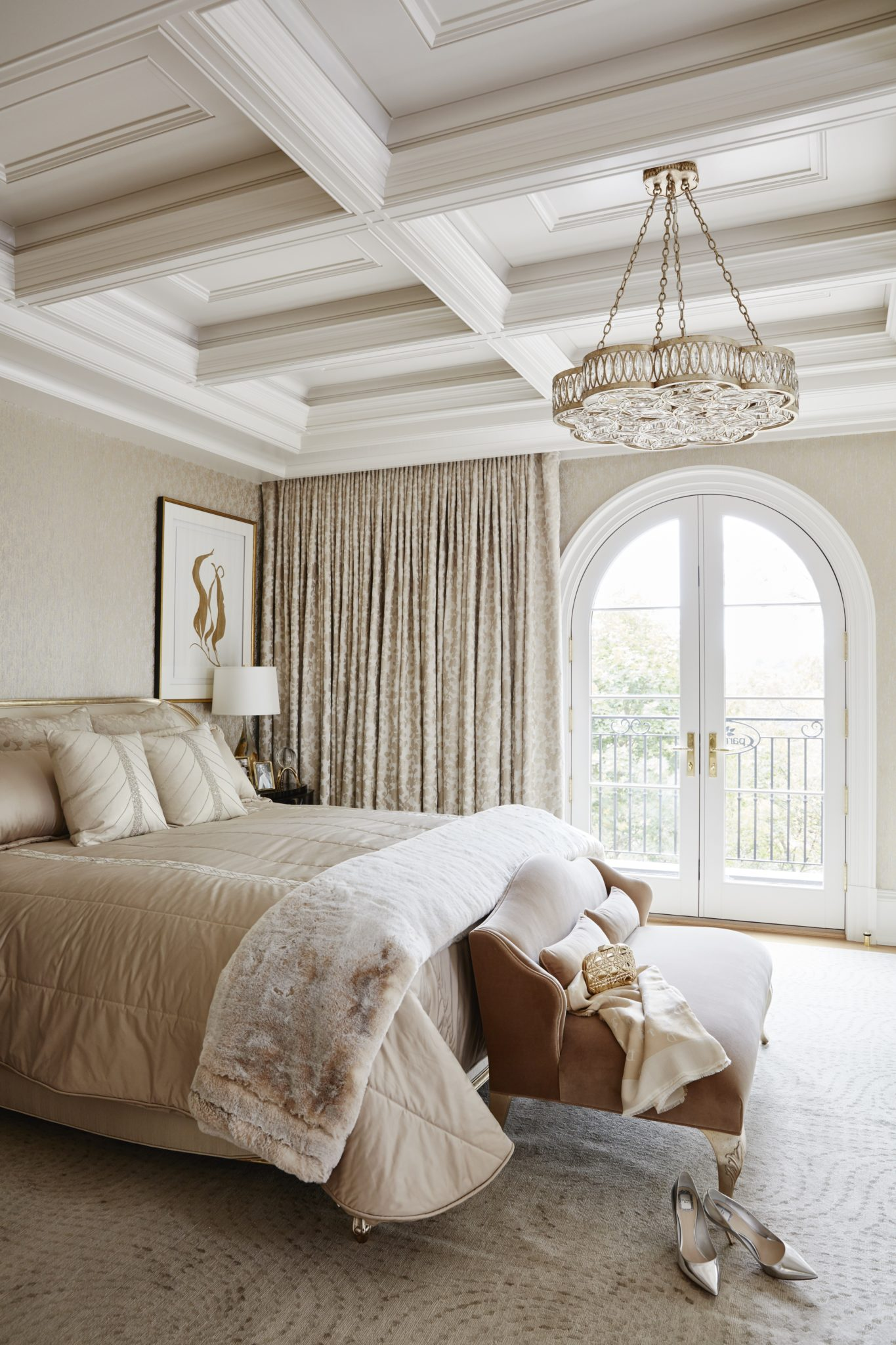 Master Bedroom in elegant neutrals, upholstered bed and metallic wallpaper by Alexandra Naranjo Designs