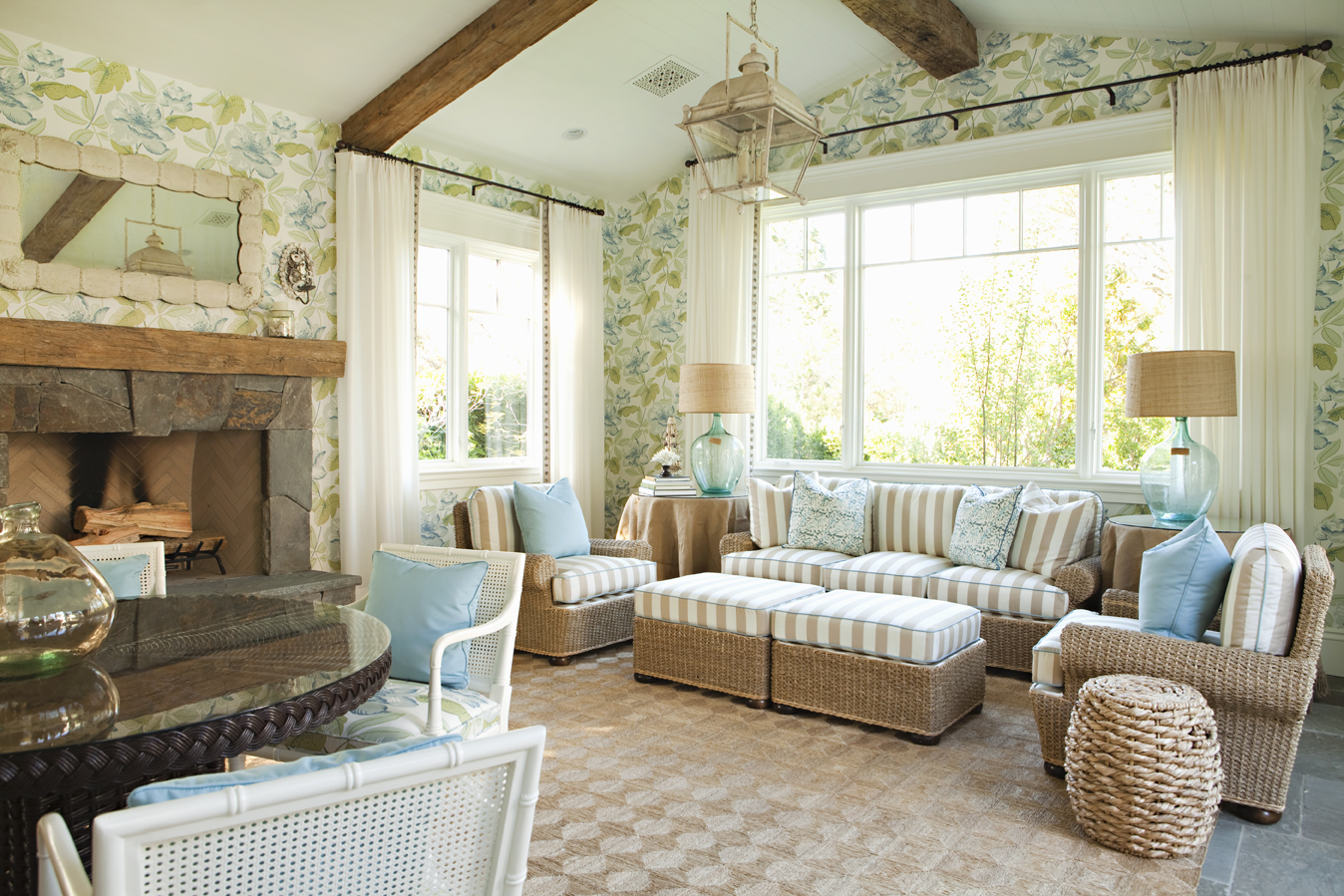 "Lee Ann Thornton, of Lee Ann Thornton Interiors:  ""I am known for my love of blue and white. Blues in all shades are my go-to color, and I like to connect that color with lots of greens, reds, etc."""