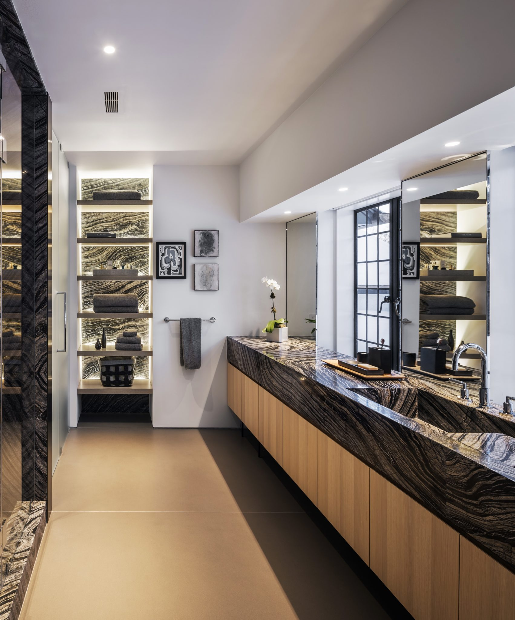 Custom oak vanity in the master bath by Monica Fried Design