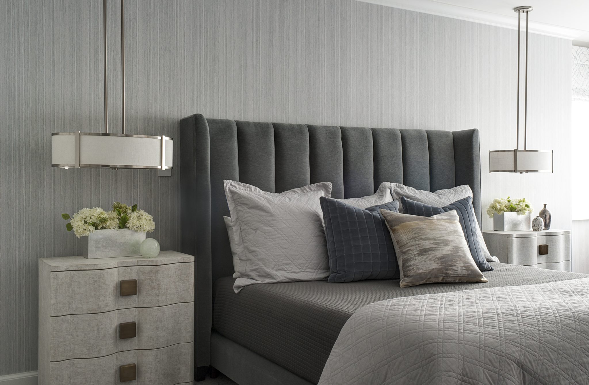 Soothing bedtime: Velvet, Belgian linen, and hand-painted wallpaper. by John Willey | Willey Design LLC