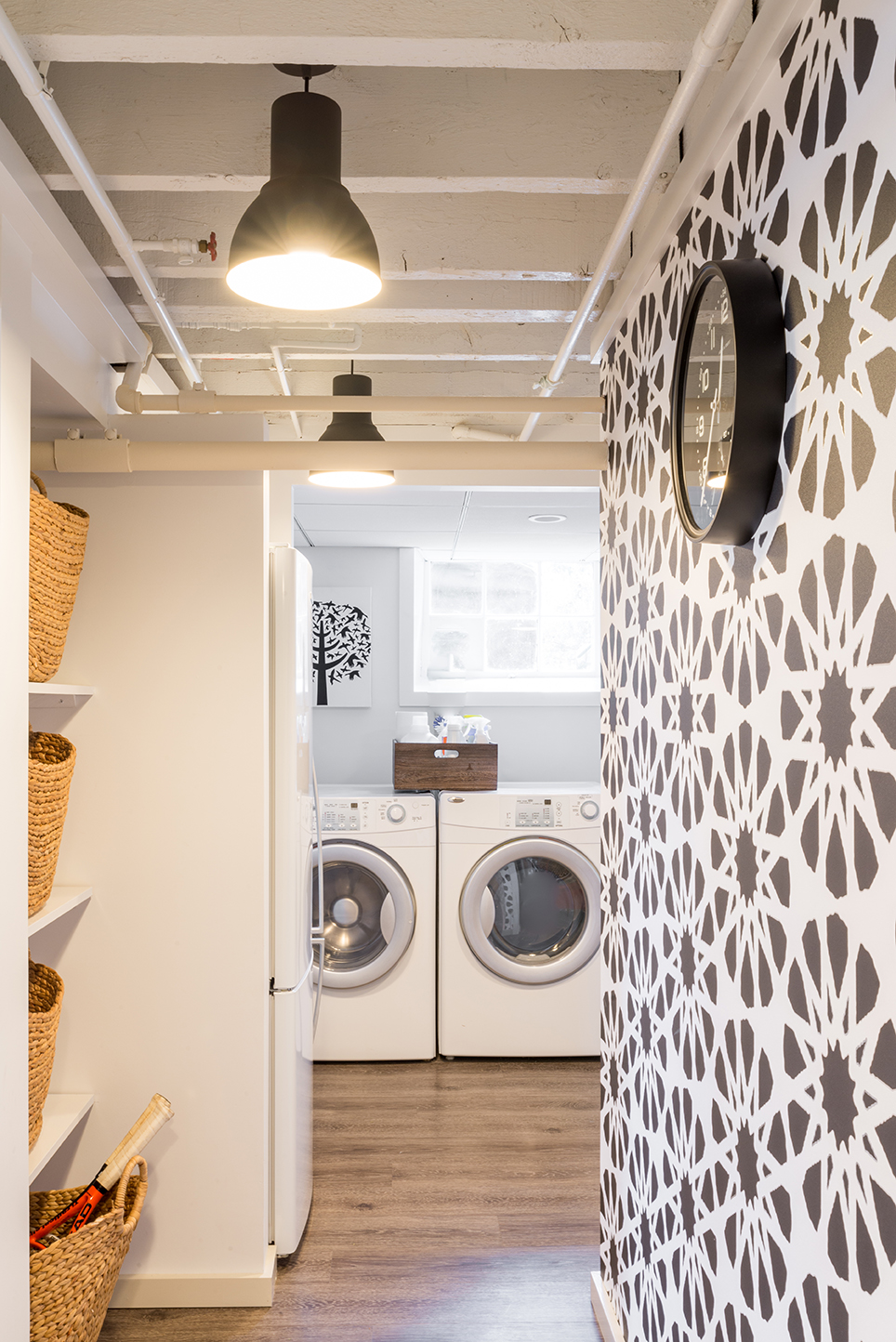 Kids art studio and mudroom laundry area by Justine Sterling Design