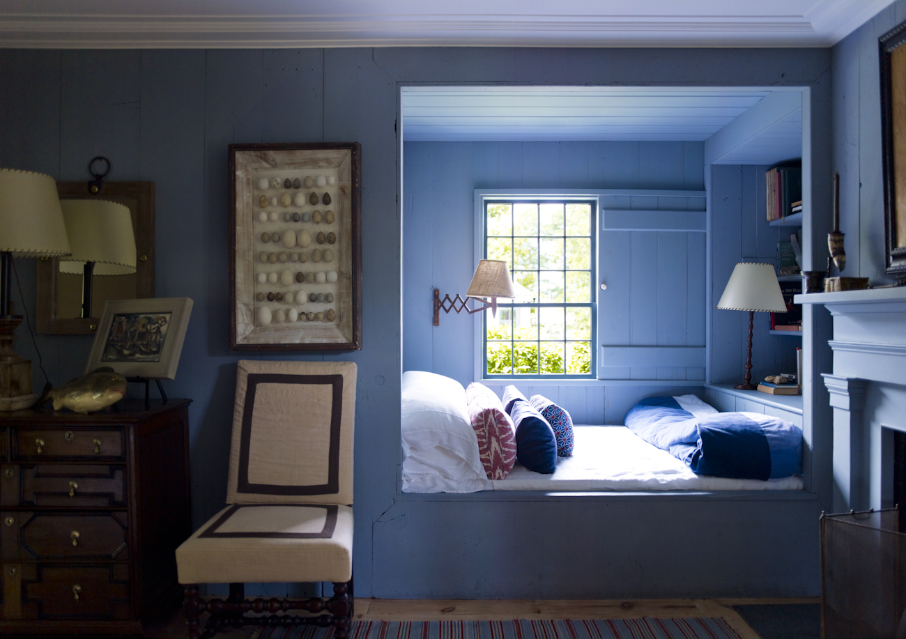 """""""The bedroom with the built-in bed is a favorite among guests. The sliding shutter was copied from a detail we saw at the local Custom House museum."""""""