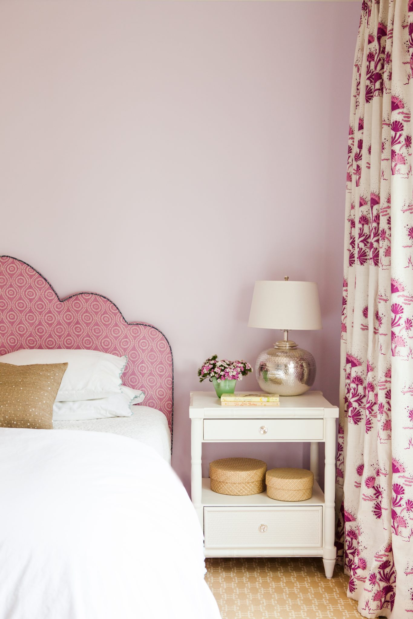 Presidio Heights bedroom in shades of violet and pink with fresh floral drapery by Caitlin Moran Interiors
