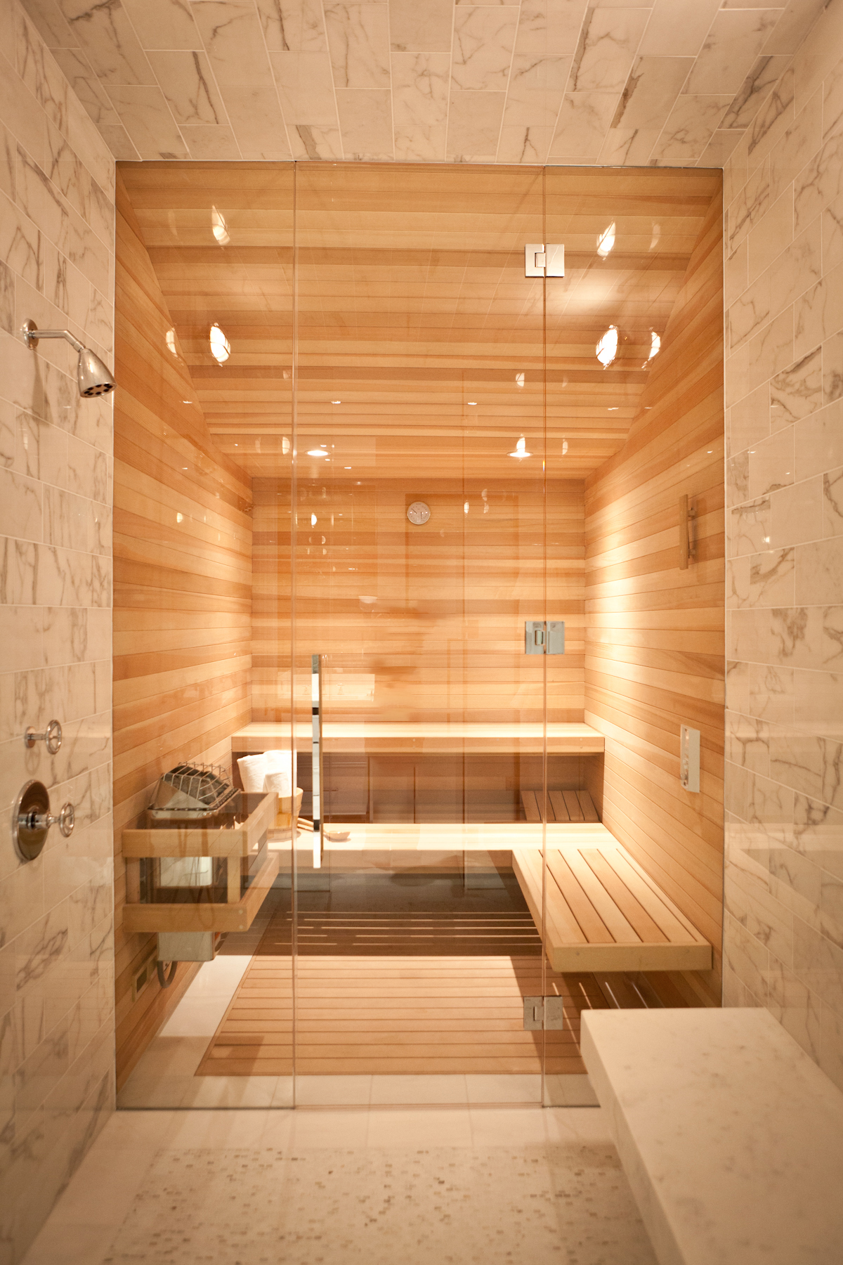 Presidio Heights Residence featuring pass-through sauna/steam room by Marsh & Clark Design