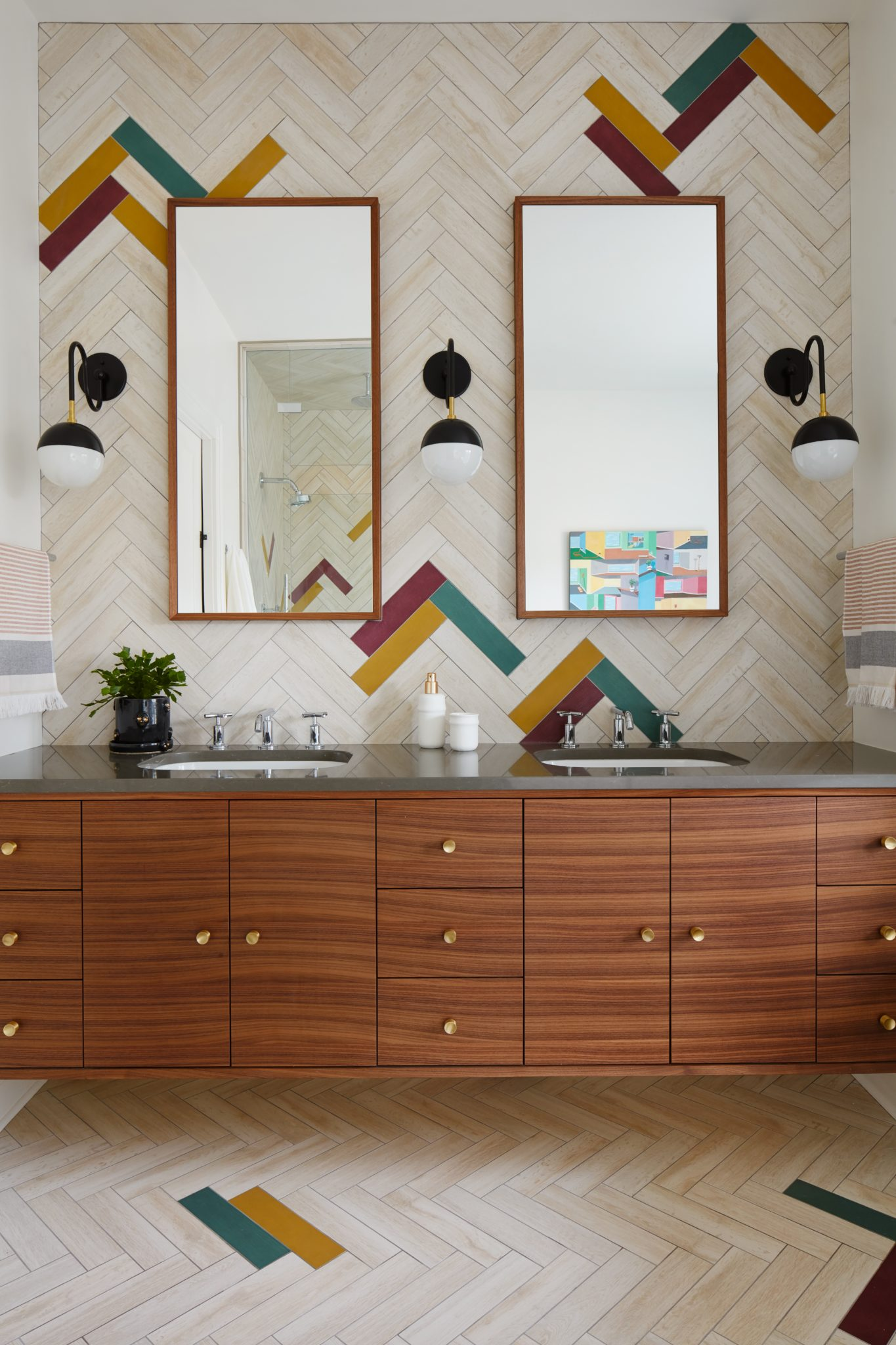 Evanston Master Bath with Colorful Tiles, Patterned Tiles and Walnut Cabinet by 2to5 Design