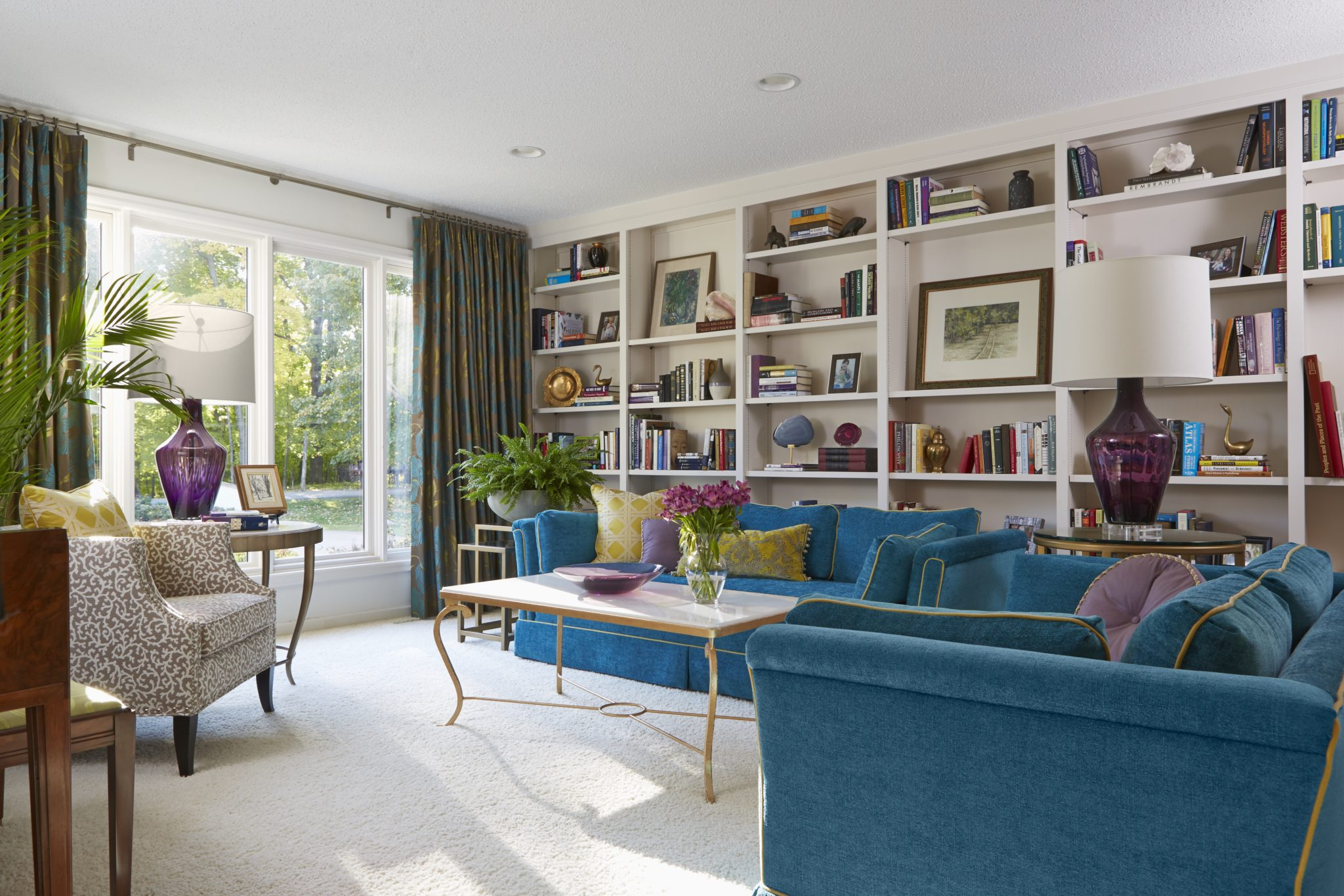 Modern music room and library by Susan E. Brown Interior Design