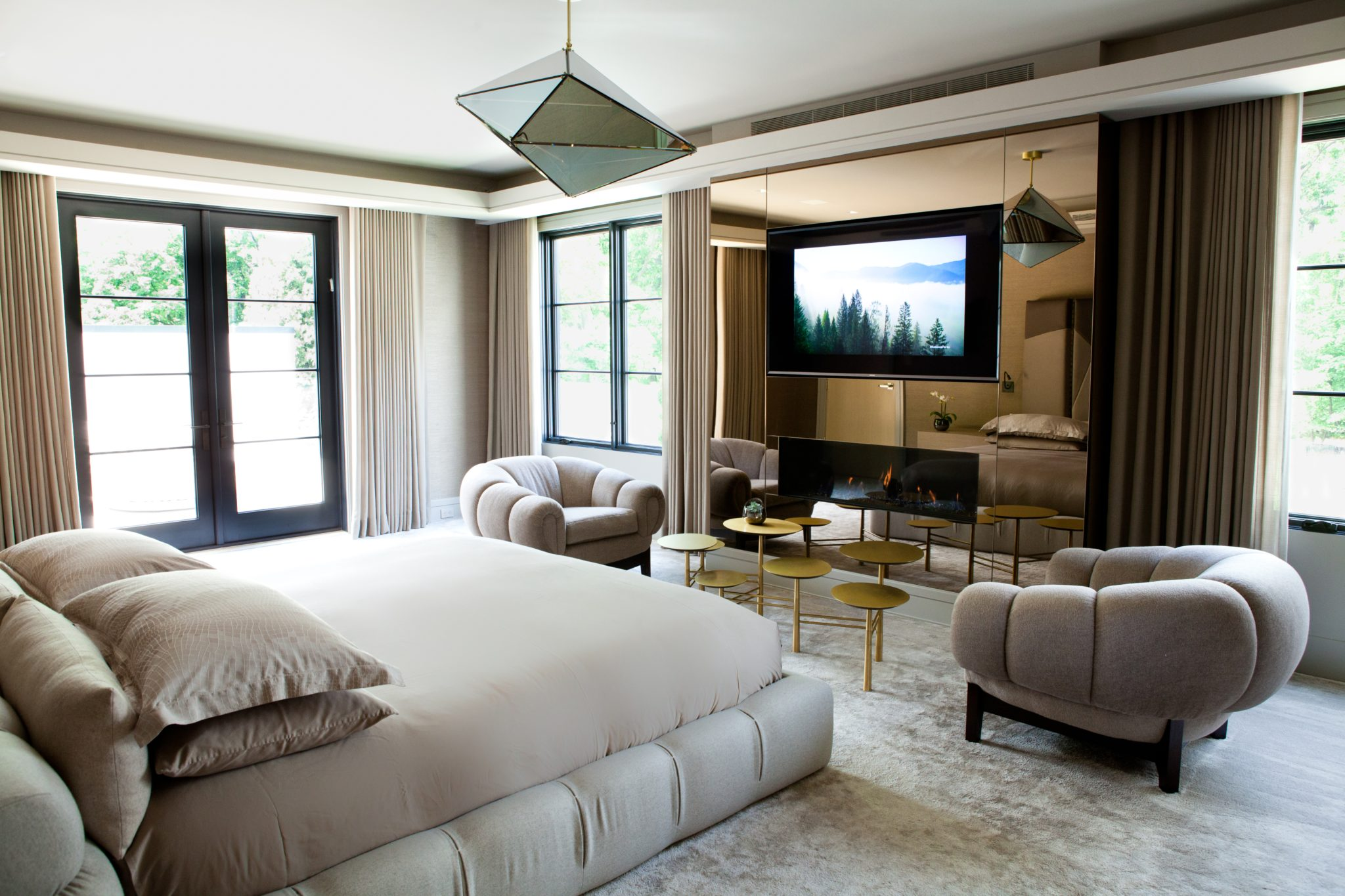 Tenafly Modern bedroom Tufty time bed and Bec Britain light by Jessica Gersten Interiors