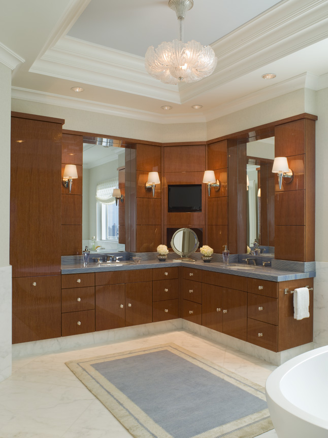 Coastal Bathroom with his and hers Dual Vanity by St. Charles of New York