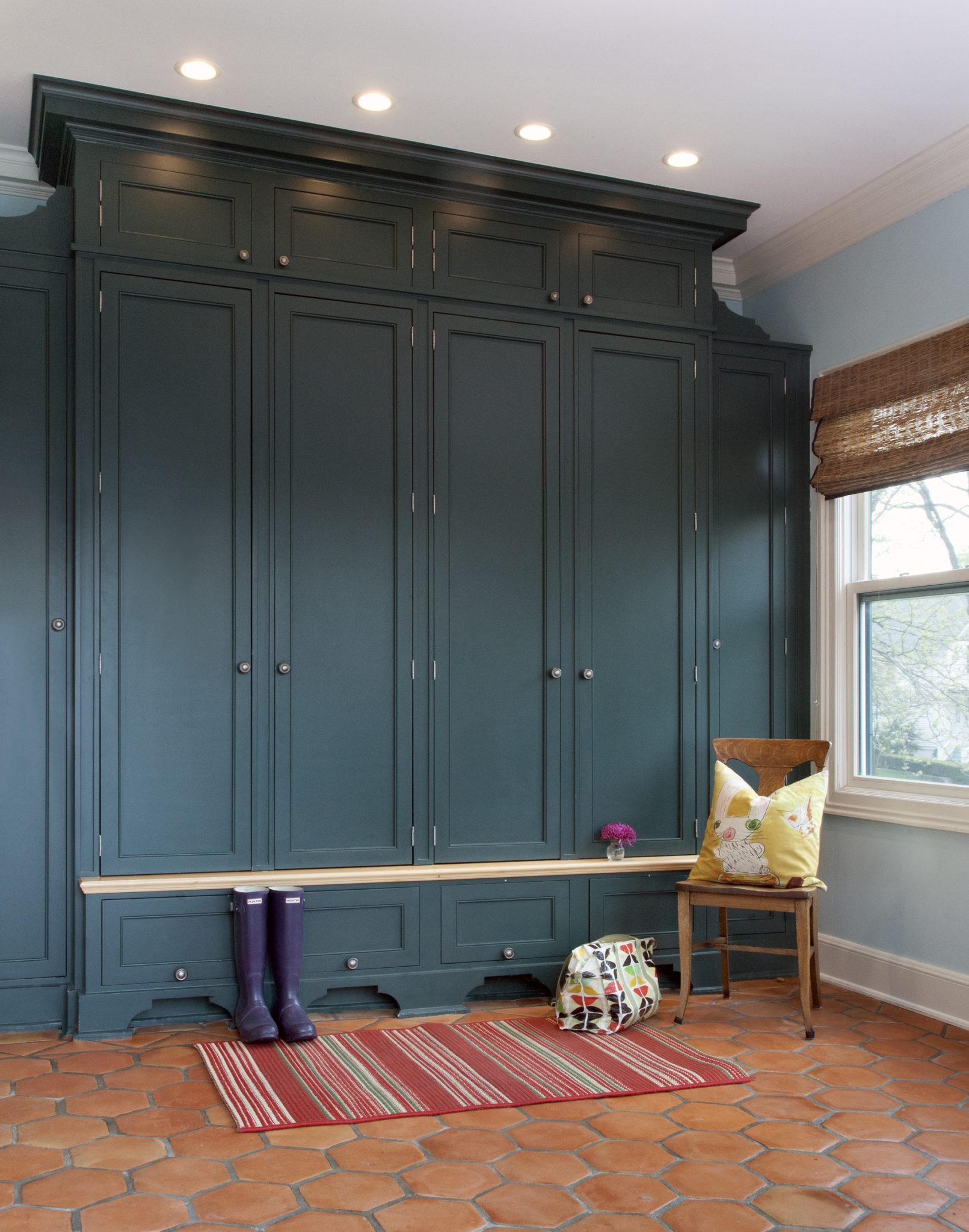 Mudroom Storage Cabinets in Dark Teal Finish by Randall Architects, Inc.