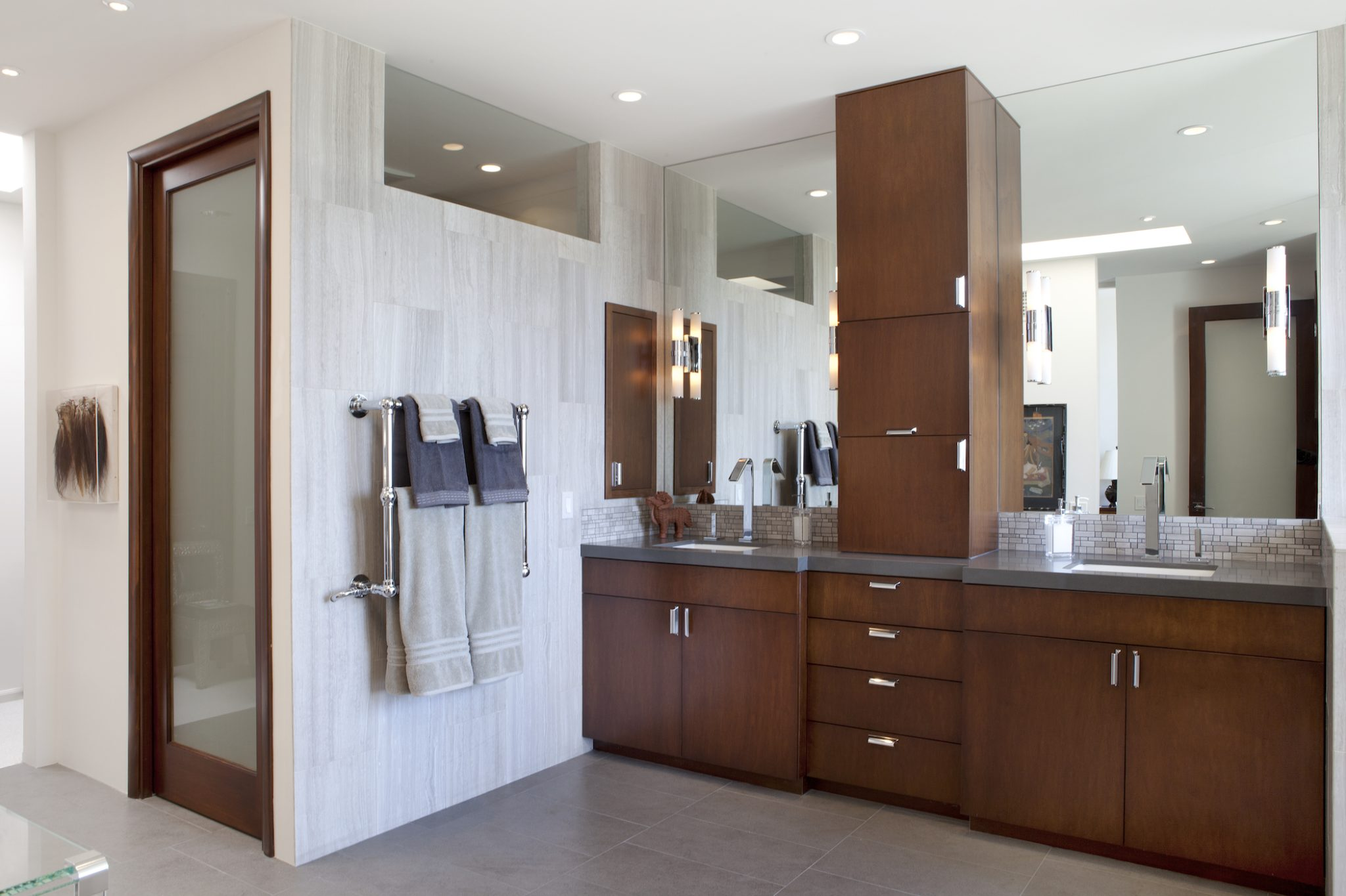 Beautiful, clean line and warm wood Master Bathroom. by Lauren Jacobsen Design