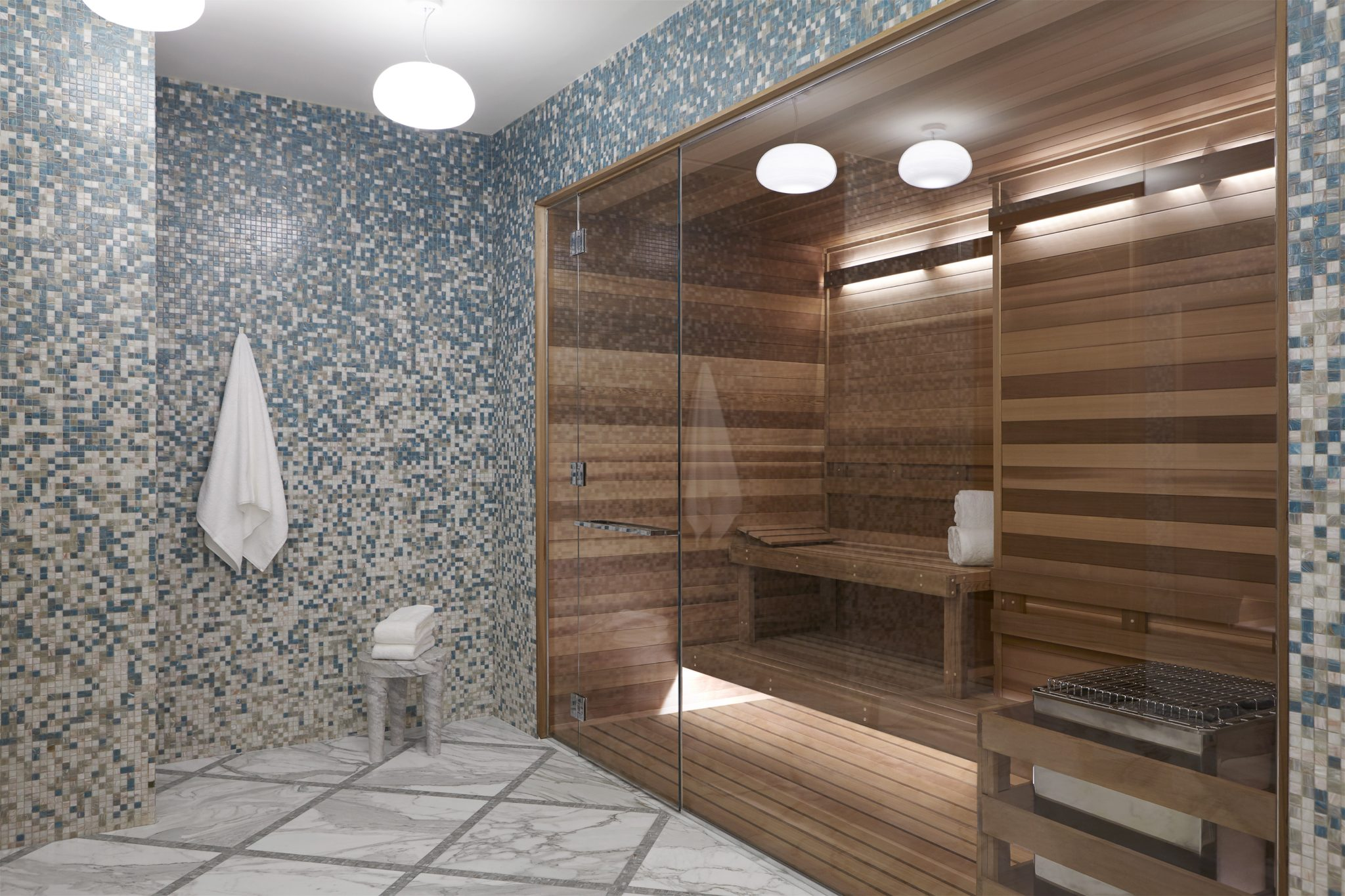 Cosmopolitan of Las Vegas - sauna with mosaic tile walls and marble floor by Daun Curry