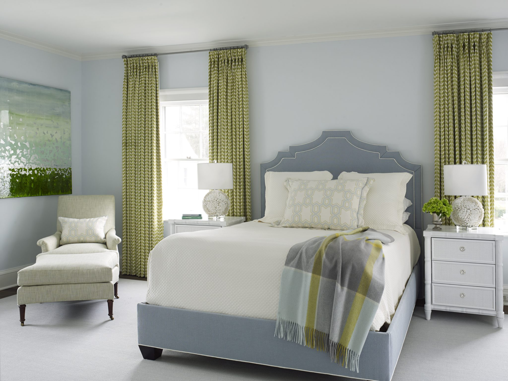 Southport Bedroom in Soothing Blues and Greens by Ken Gemes Interiors