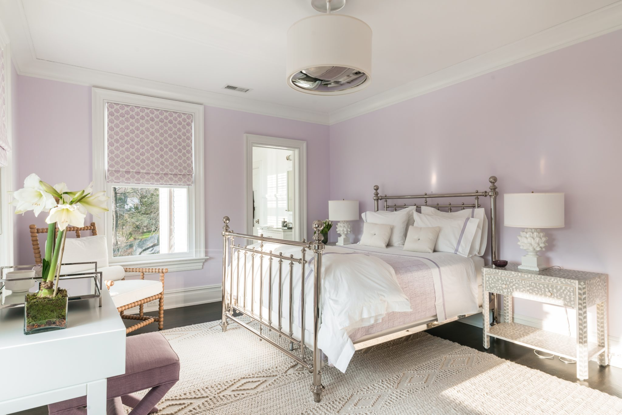Refined Guest Bedroom, Lavender, Brass Bed, Shaded Chandelier, Geometric Shades by Alisberg Parker Architects