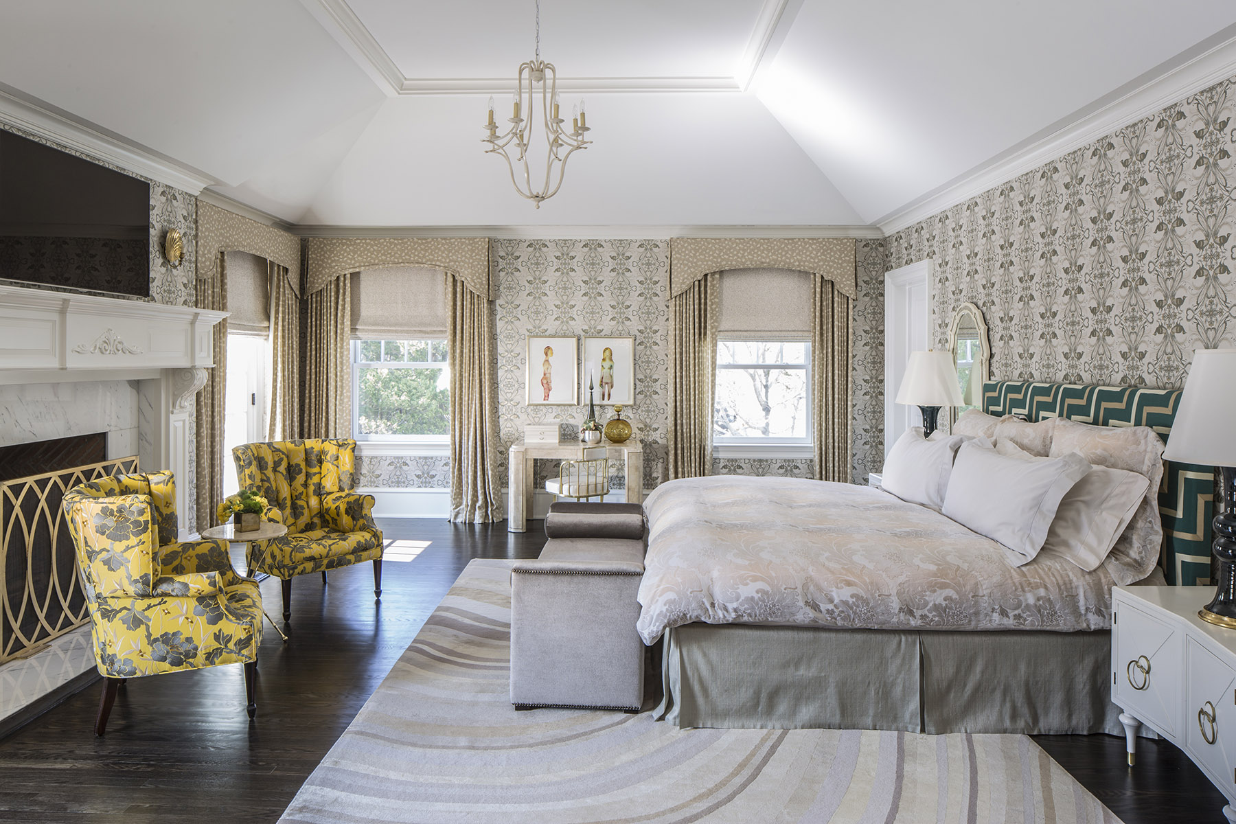 Master bedroom by Marks & Frantz. Employing color and pattern is a hallmark of this design duo, who also design sets for major motion pictures. by Marks & Frantz