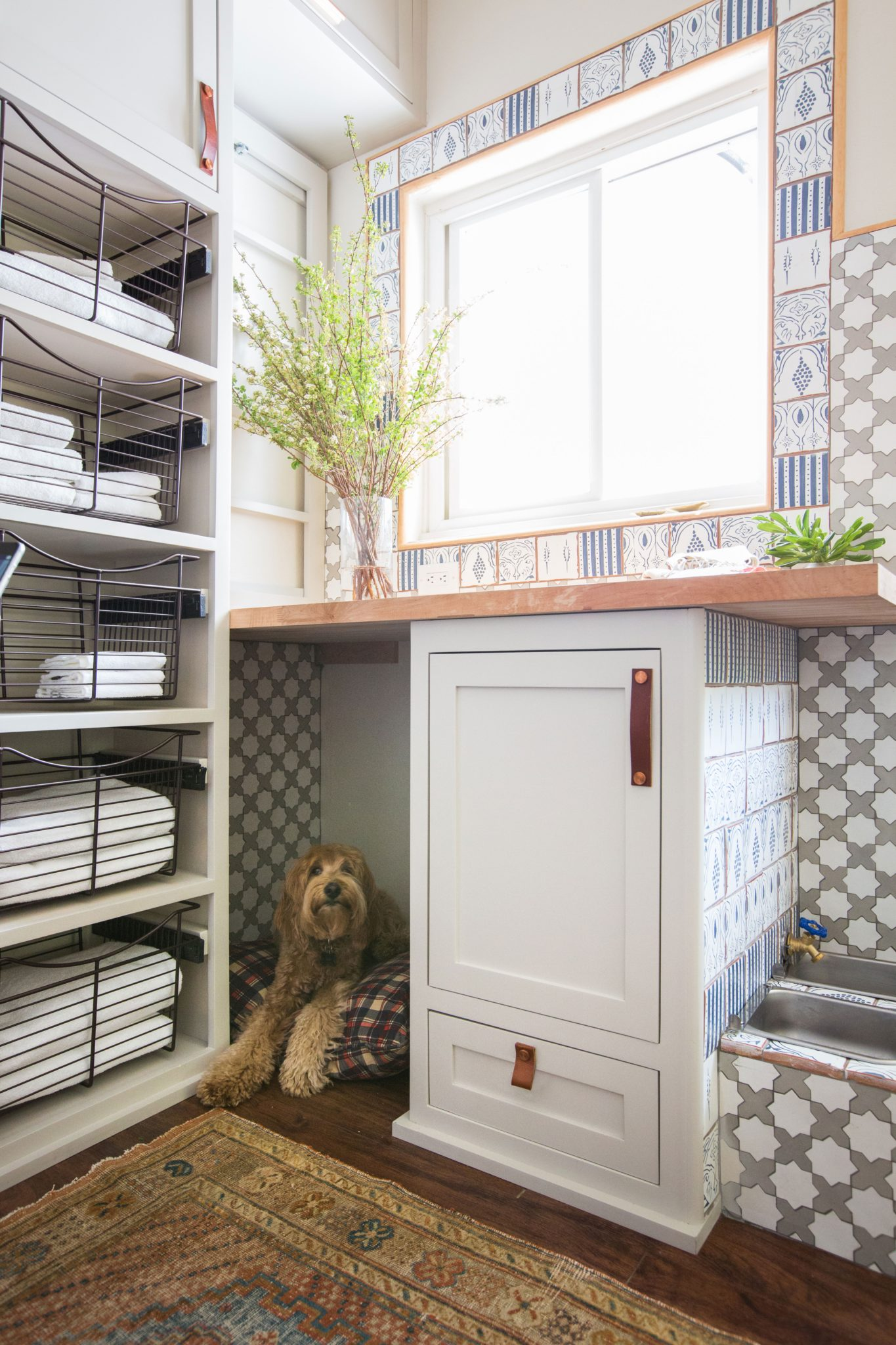 Pet Friendly Pasadena Mudroom with Custom Tile by Stefani Stein Inc.