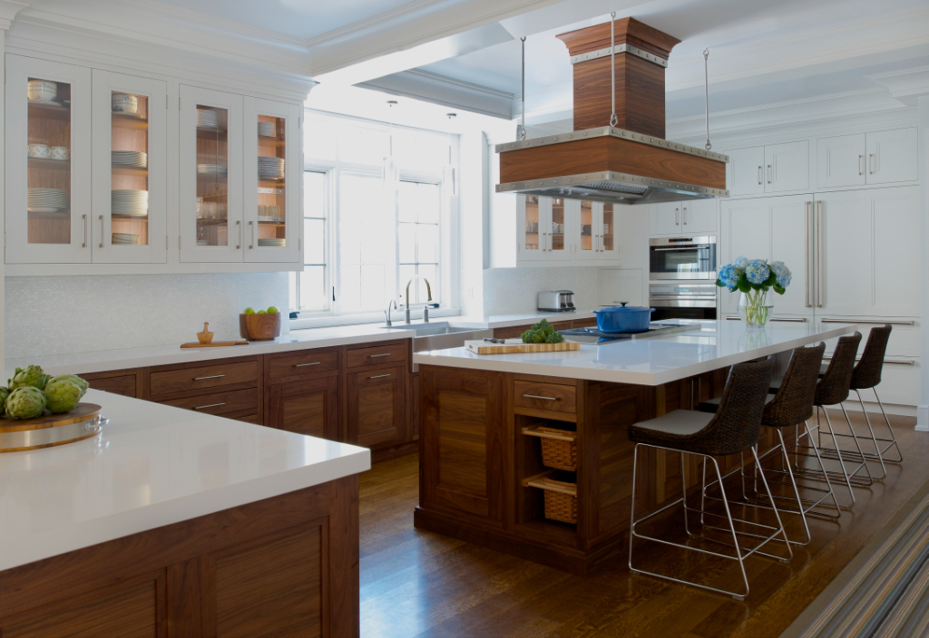 Walnut and white modern kitchen by S.B. Long Interiors