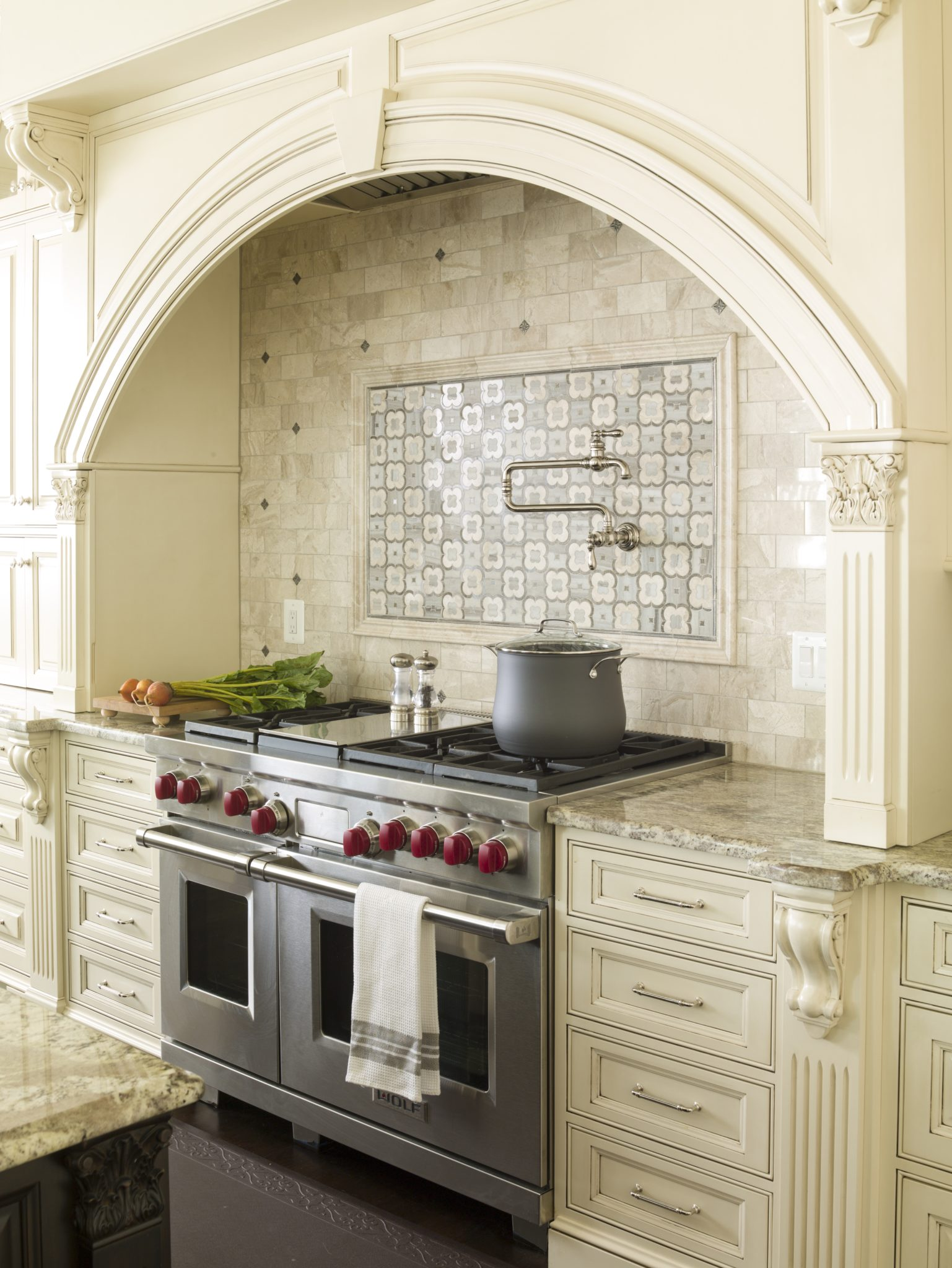 Kitchen Stovetop Cabinet & Tile Detail - Great Falls, Northern Virginia by Paula Grace Designs – Signature Grace