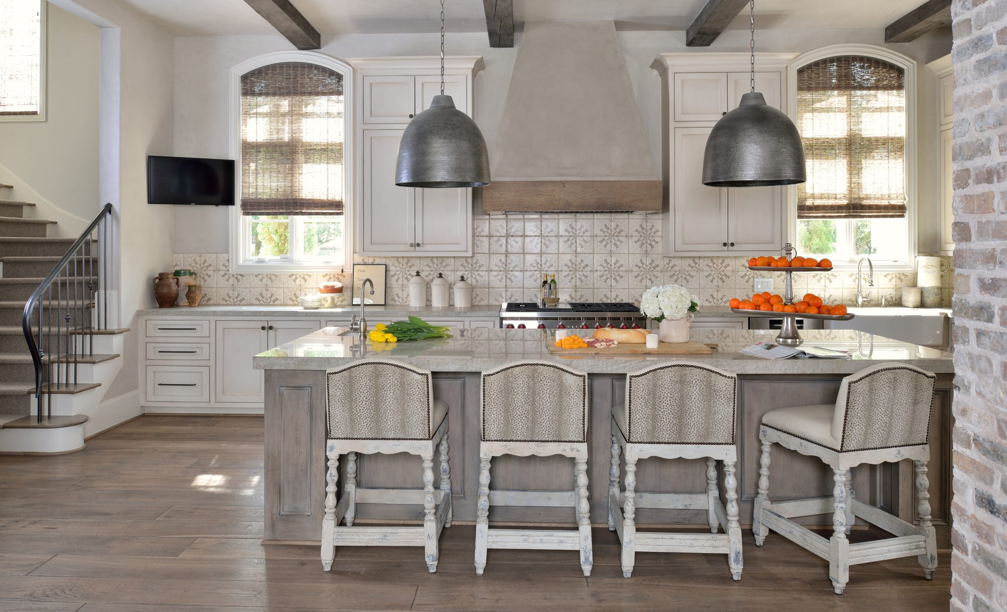 Sugar Land, TX Kitchen With Hand Painted Tile Backsplash & Plaster Hood by Cindy Witmer Designs