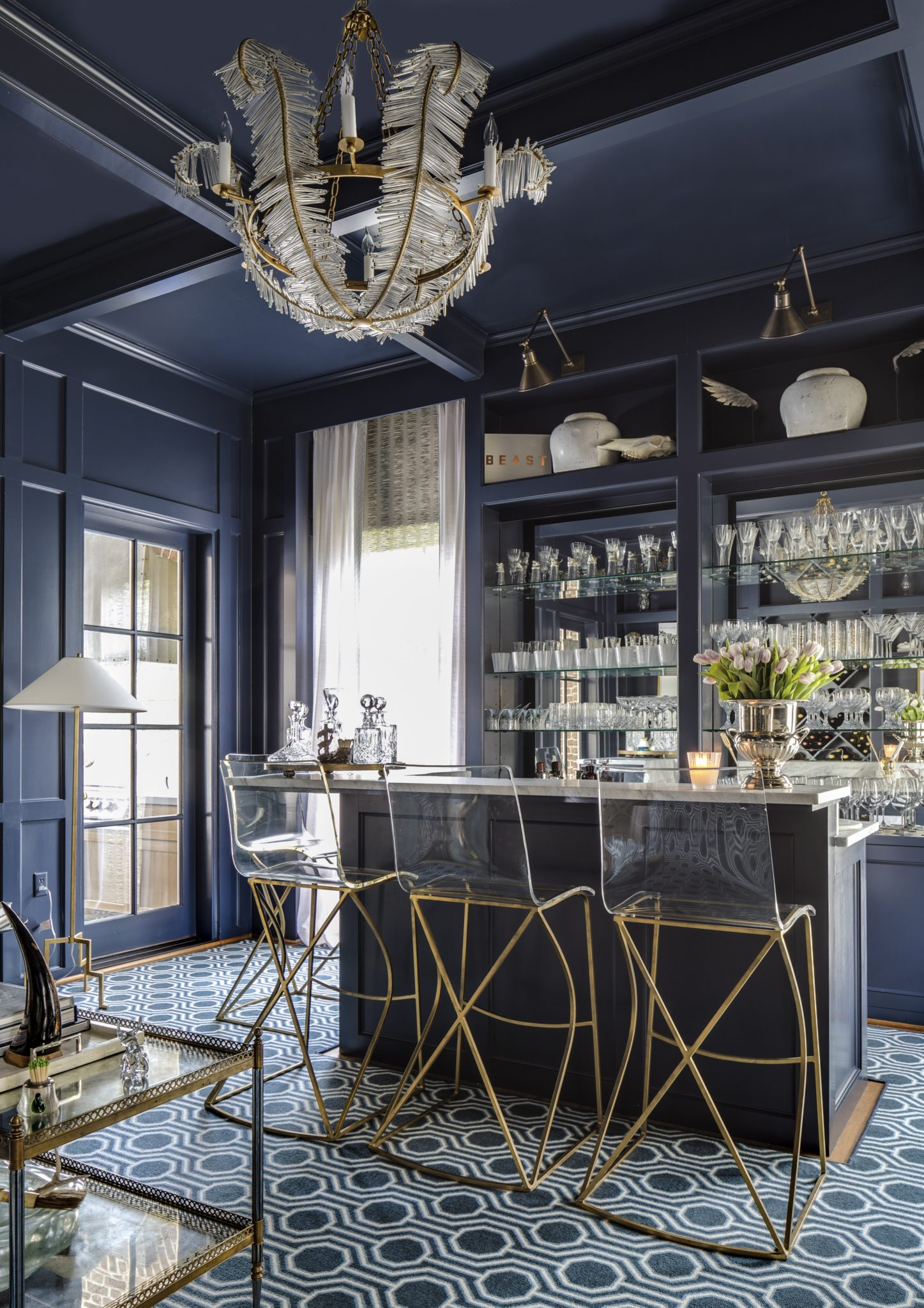 Tanglewood Houston Home Bar with Blue Lacquer Built-In Bookcase for Wine Storage by Cindy Witmer Designs
