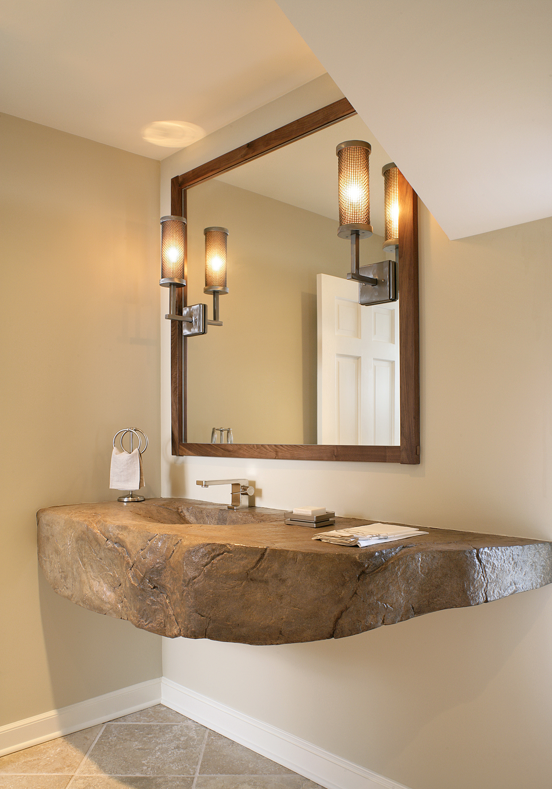 Short Hills, Concrete Vanity by OASIS HOME by NLM DESIGN INTERIORS