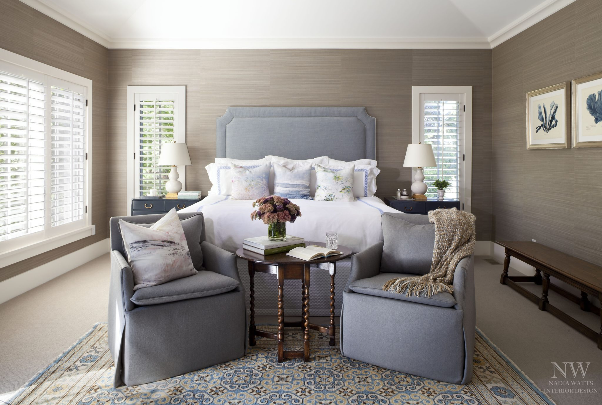 Master bedroom by Nadia Watts Interior Design
