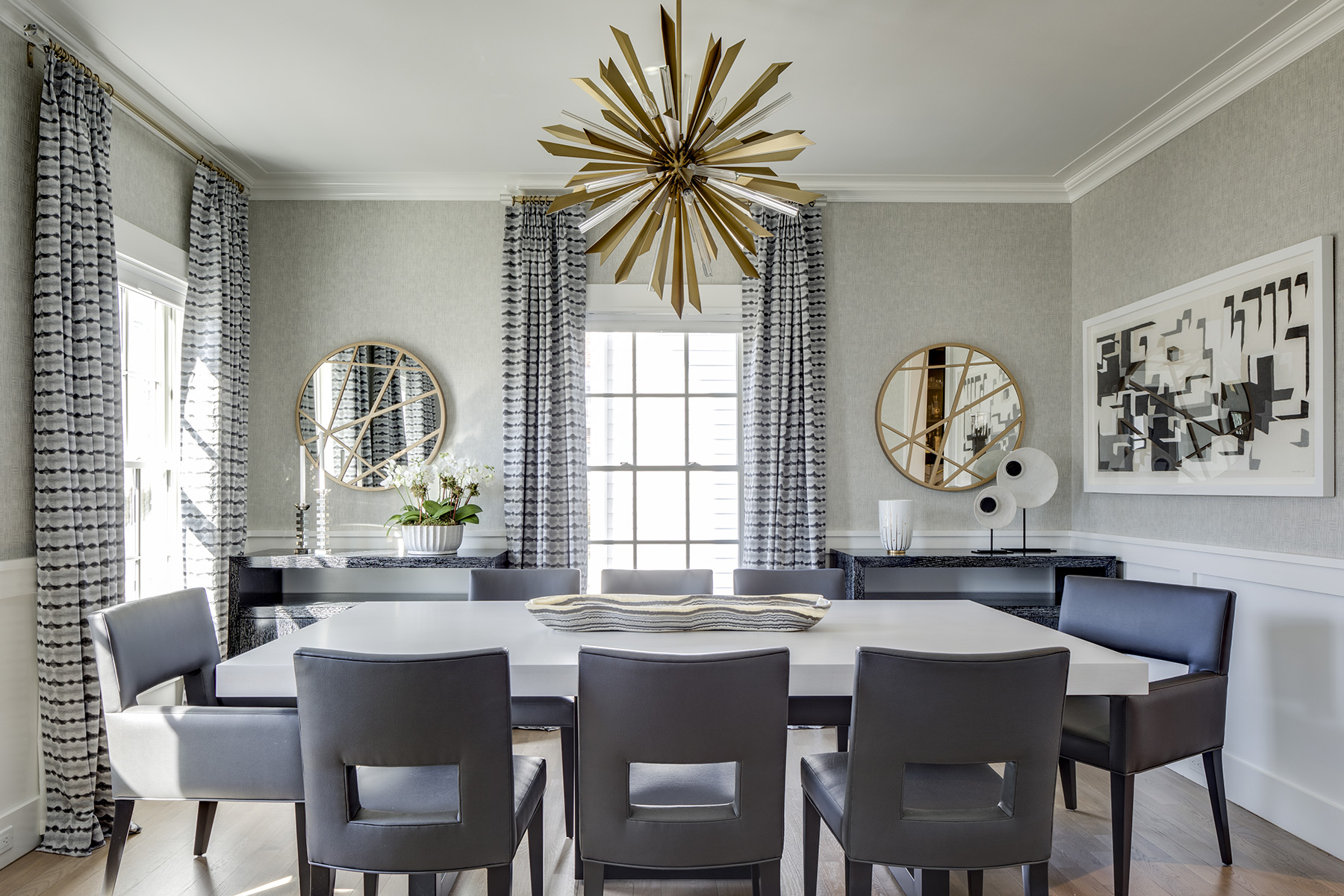 Dining Room with brass accents by A-List Interiors