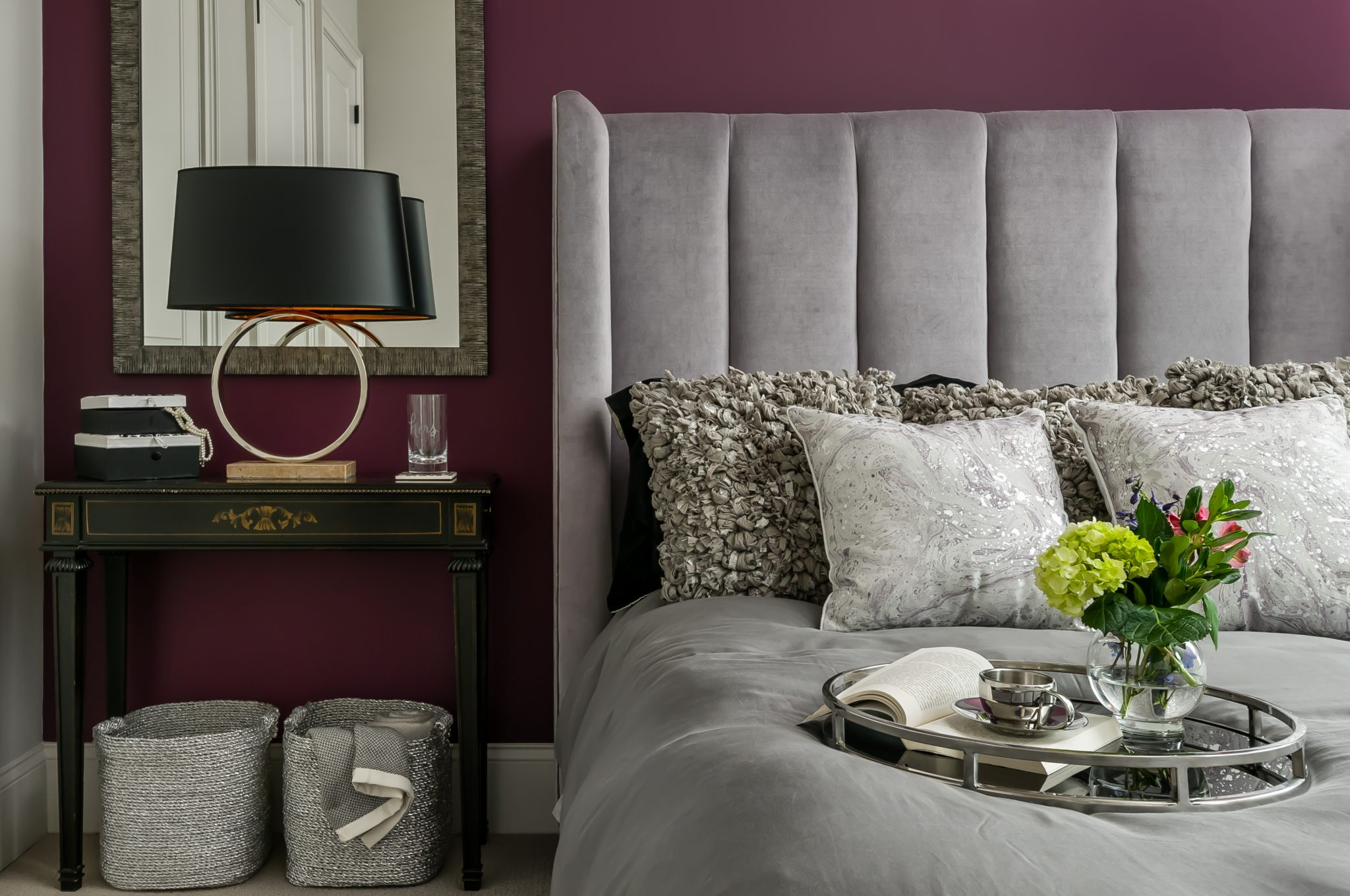 Transitional Guest Bedroom with purple accent wall - Atlanta GA by KALAA CHAKRA INTERIORS, LLC
