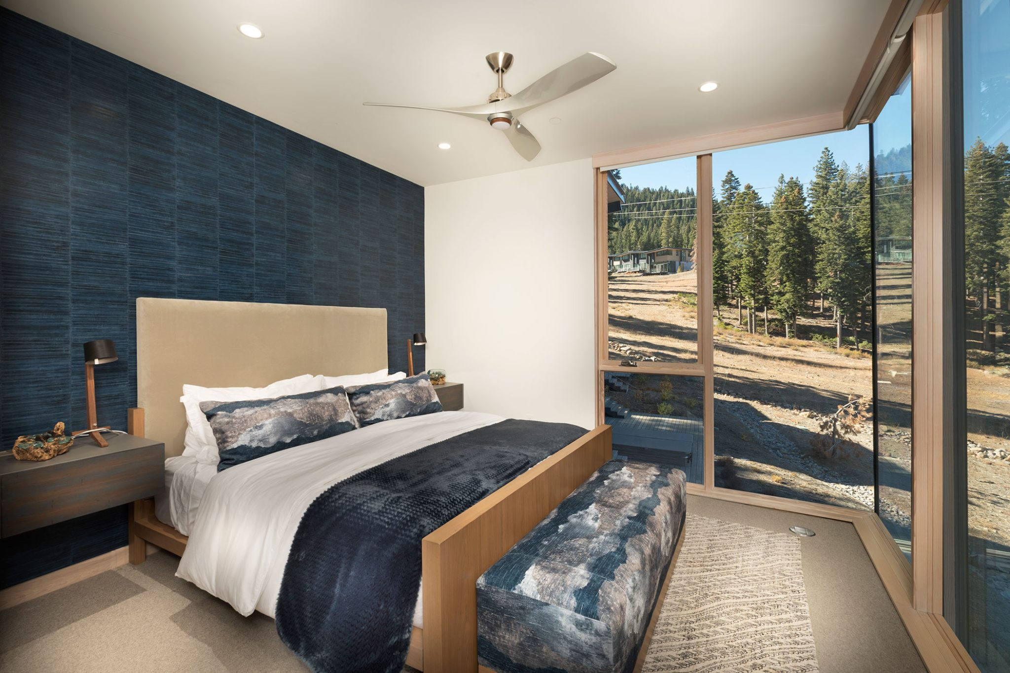 Mountainside at Northstar Ski Resort, master deep blue wall covering and fabrics by Aspen Leaf Interiors, Inc.