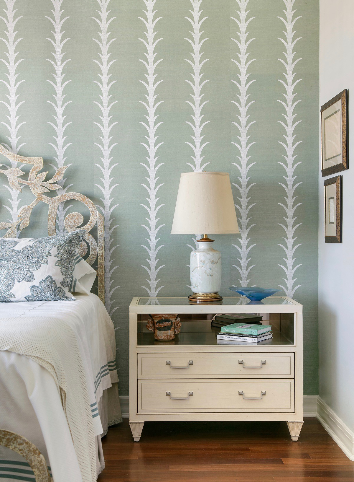 Master bedroom with painted grasscloth wallpaper by Schumacher by Eclectic Home