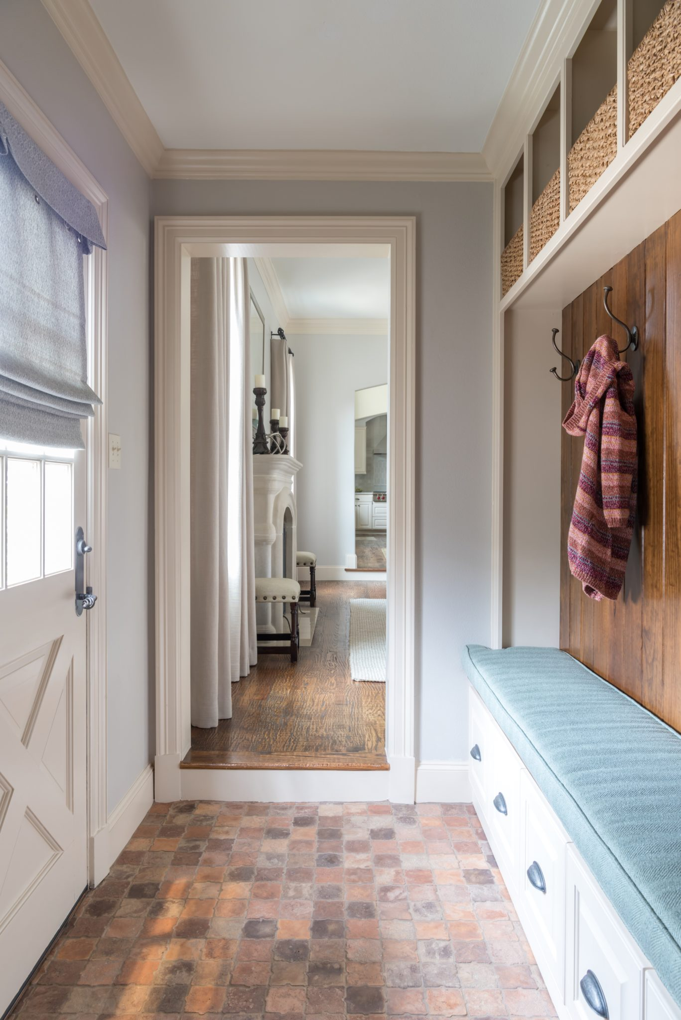 Stanford Avenue, Mudroom with Concrete Tile by Allison Seidler Interiors