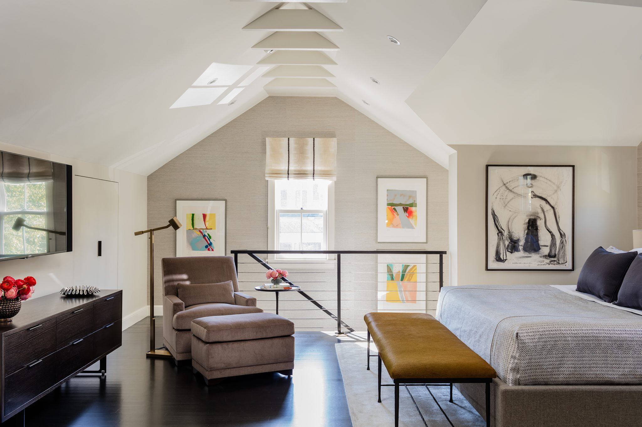 Brookline Carriage House - master bedroom by Elms Interior Design