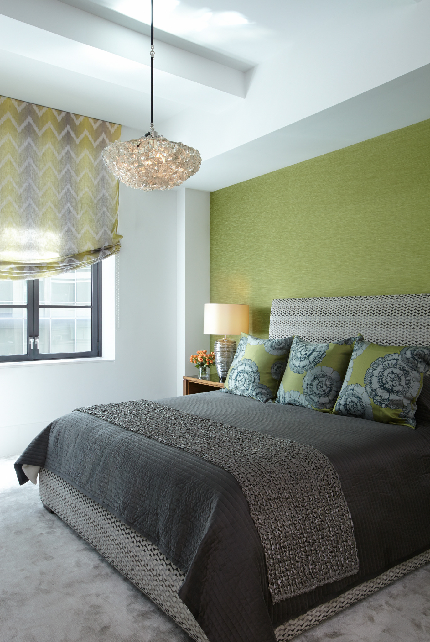 Vibrant Bedroom in NYC by Evelyn Benatar New York Interior Design, Inc.