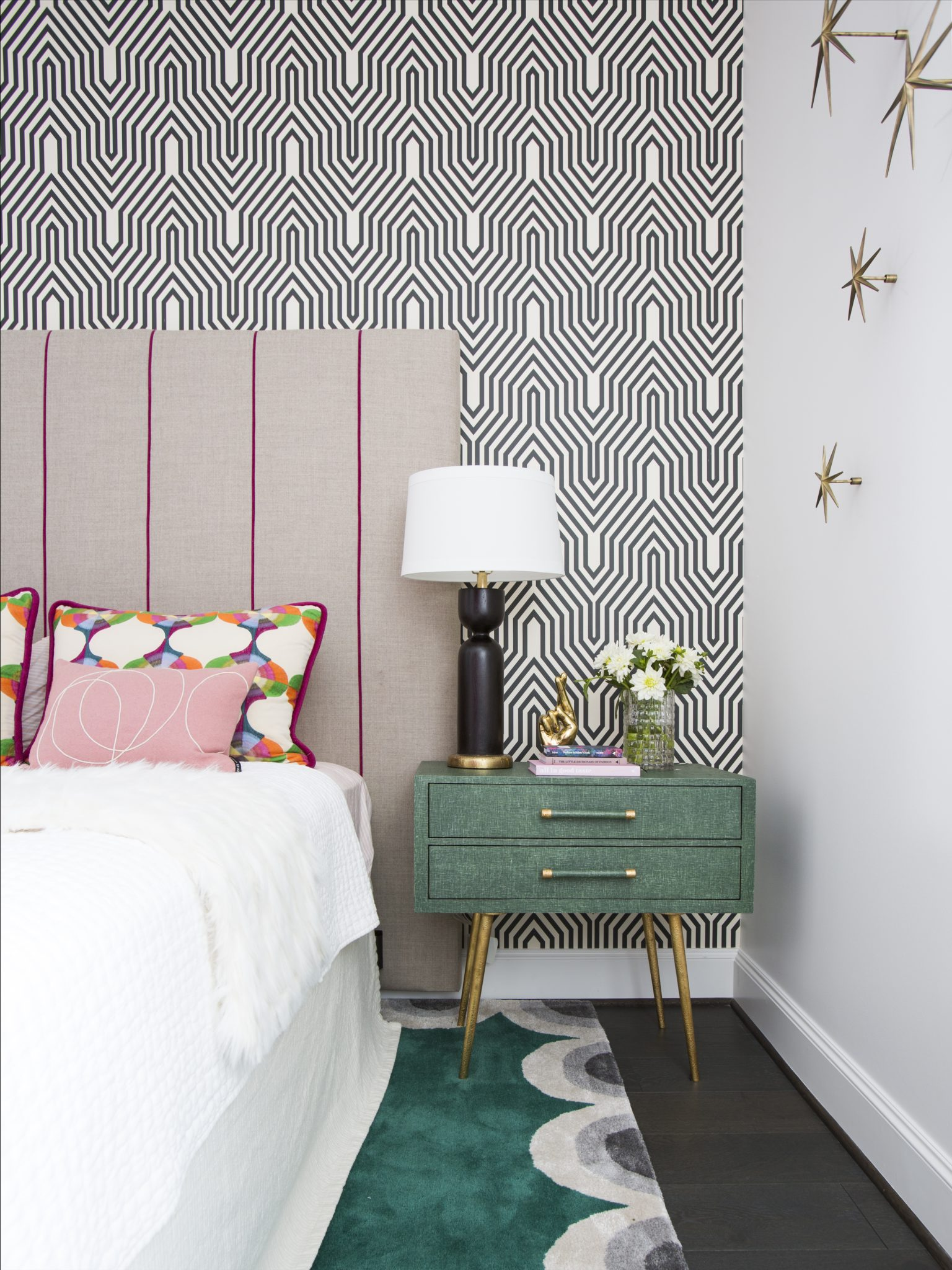 Houston high-rise, fun and unique girl's bedroom with geometric wallpaper by Laura U, Inc.