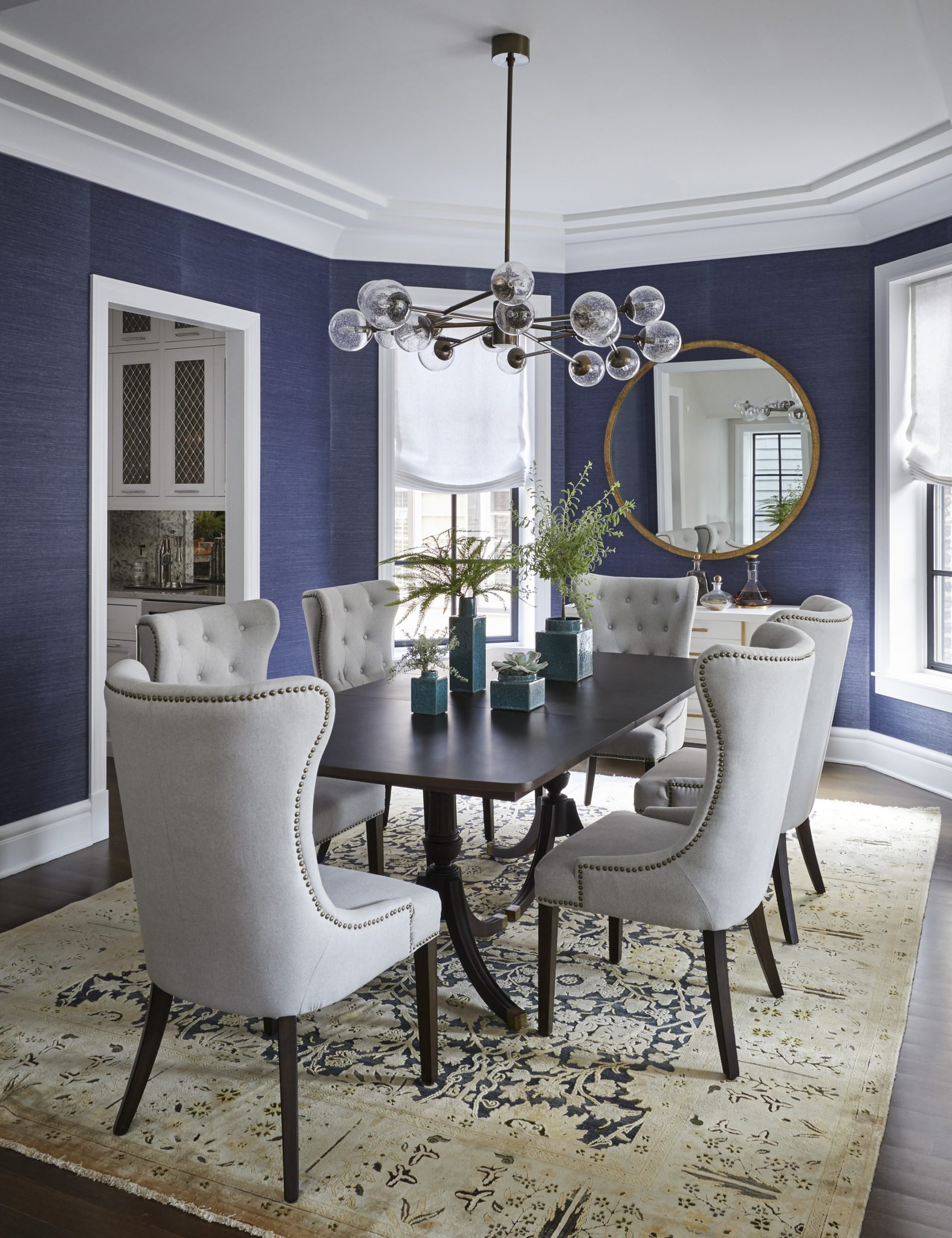 North Center Dining Room with Grasscloth Wallpaper by Amy Kartheiser Design