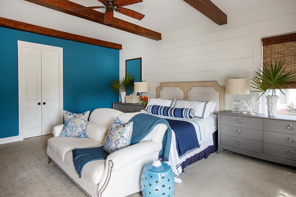 Coastal master bedroom by Amanda Webster Design, Inc.