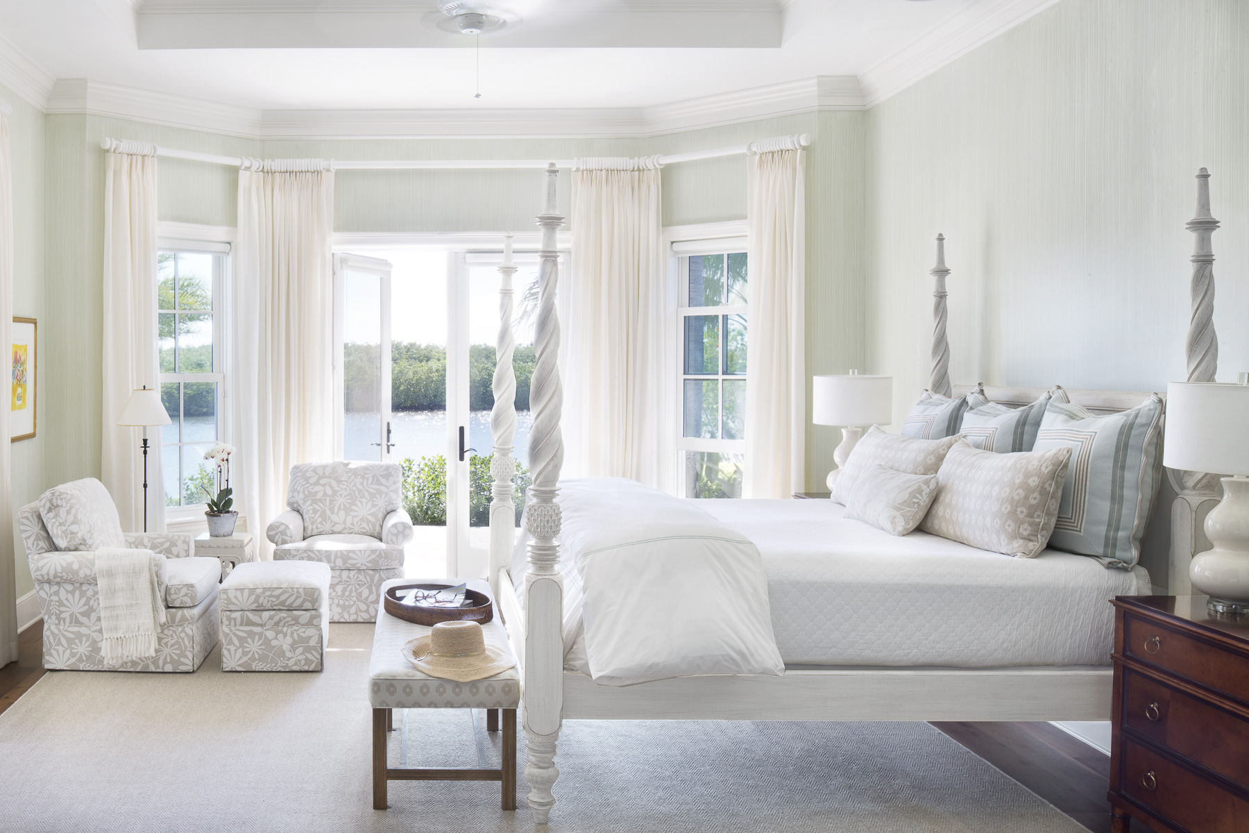 Waterfront master bedroom suite by Jill Shevlin Design